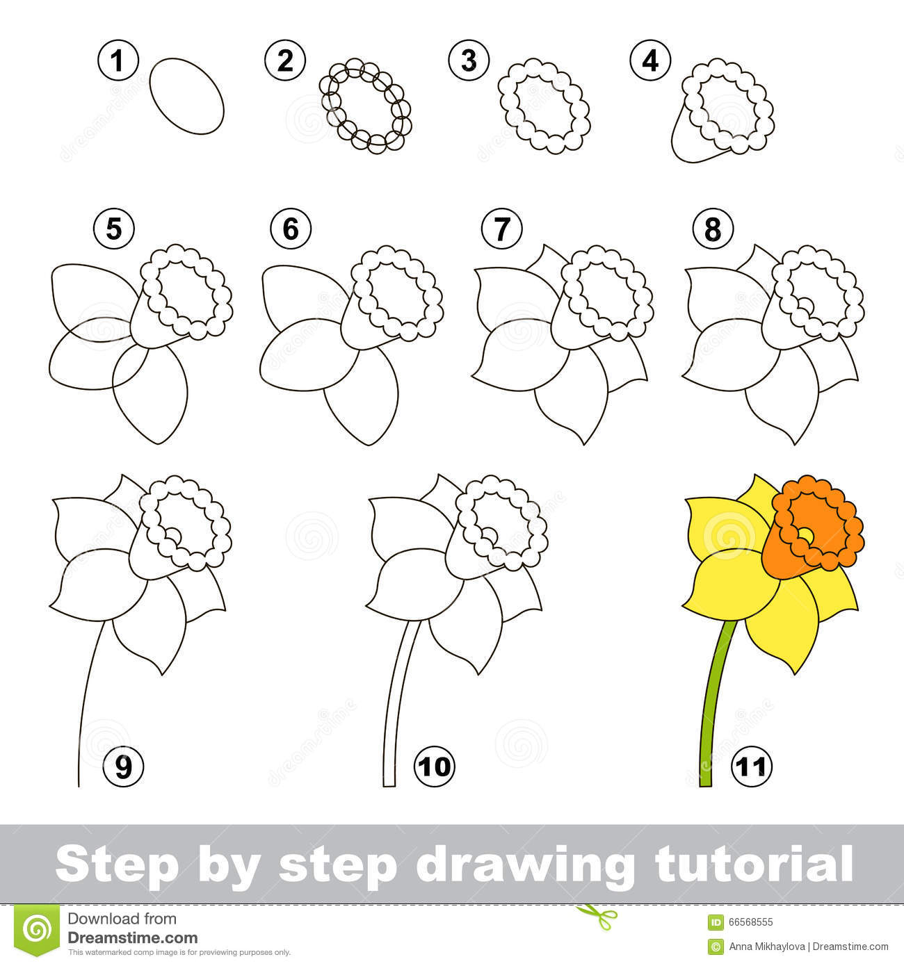 Daffodil Drawing Tutorial Stock Vector Illustration Of Child