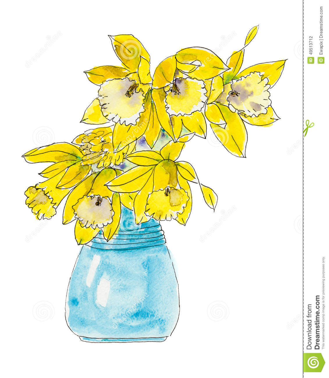 how to draw daffodils in a vase