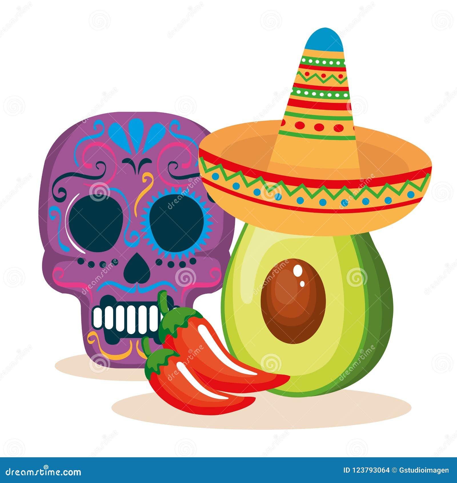 Dag av den döda maskeringen med mexikansk mat