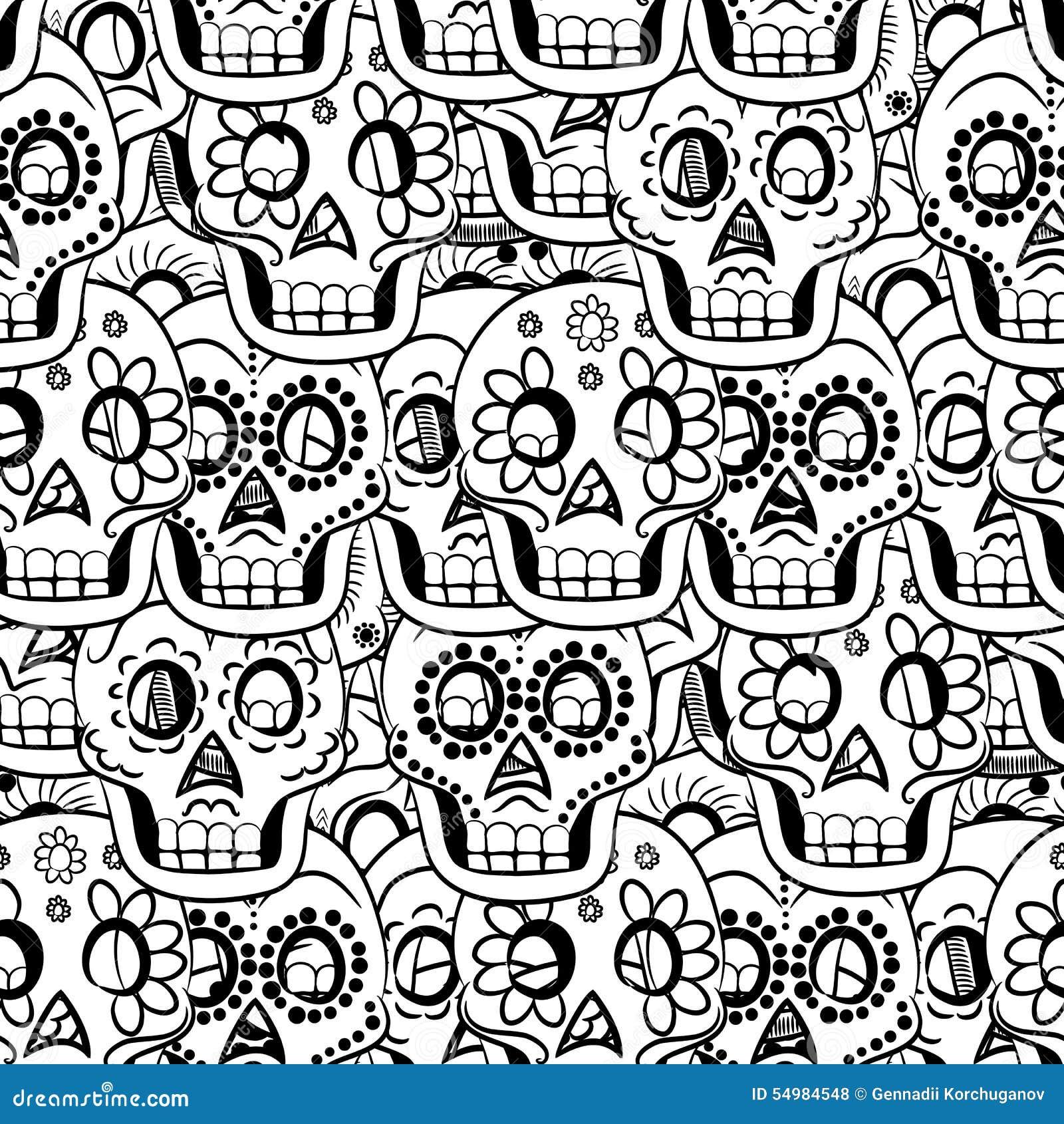 Dag av den döda Sugar Skull Seamless Vector Background
