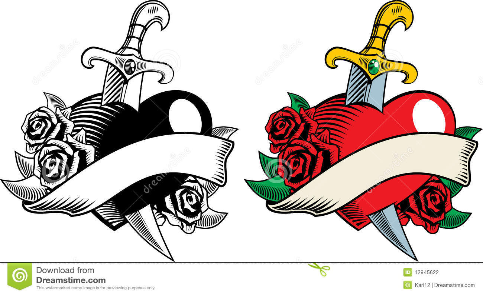 Daga y flores del corazón