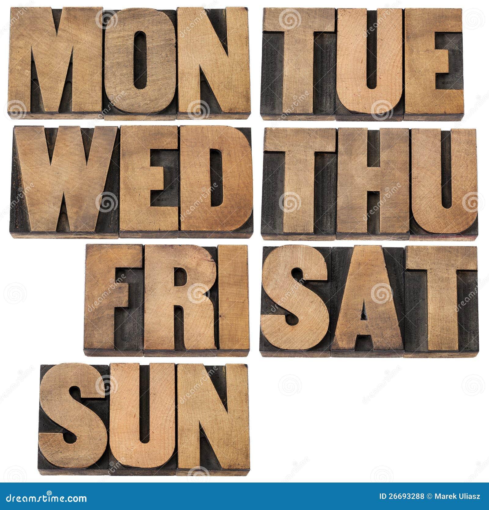 Dagar av veckan i wood typ