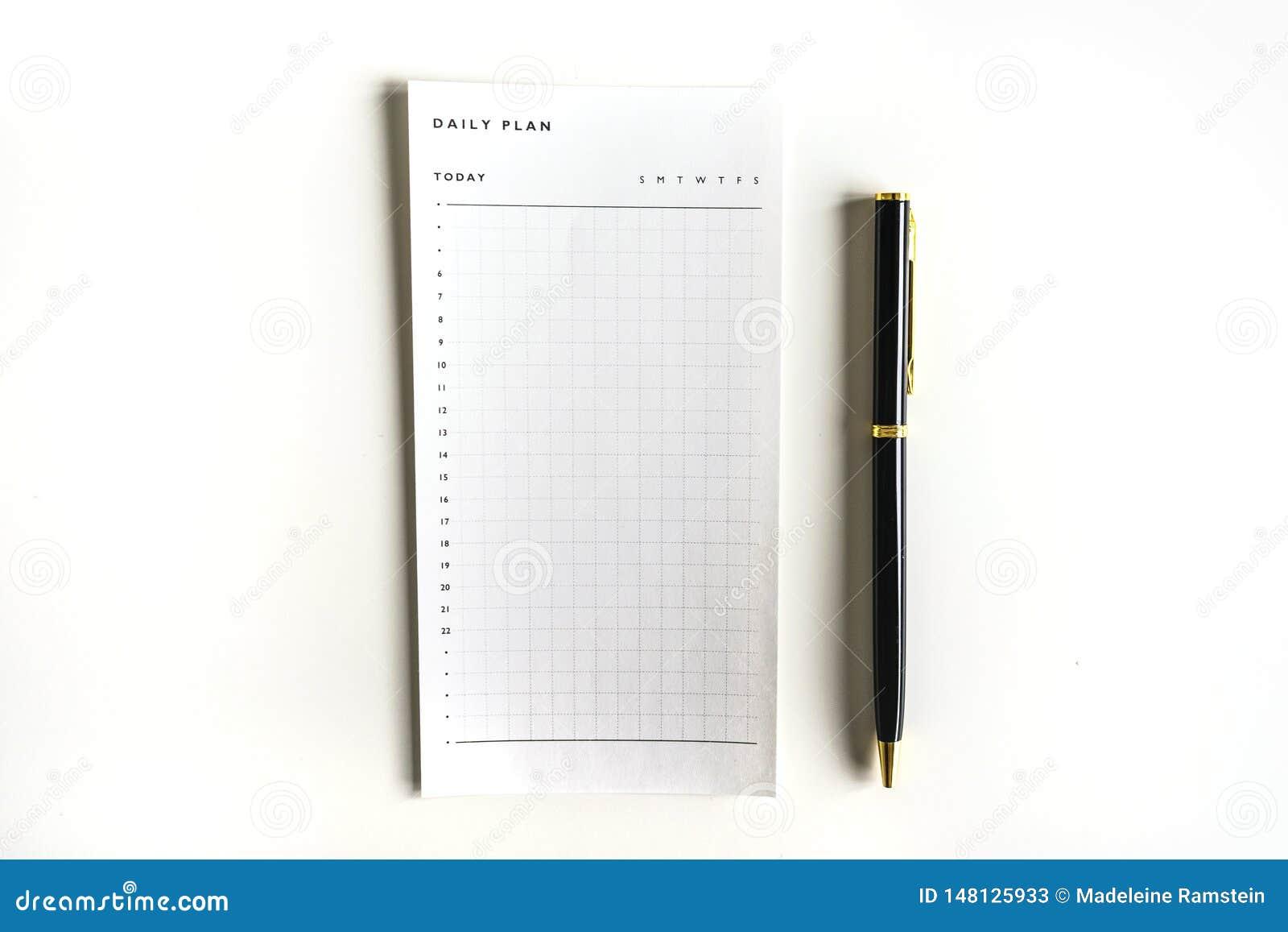 Dagelijks plan per uur om lijst met zwarte pen te doen