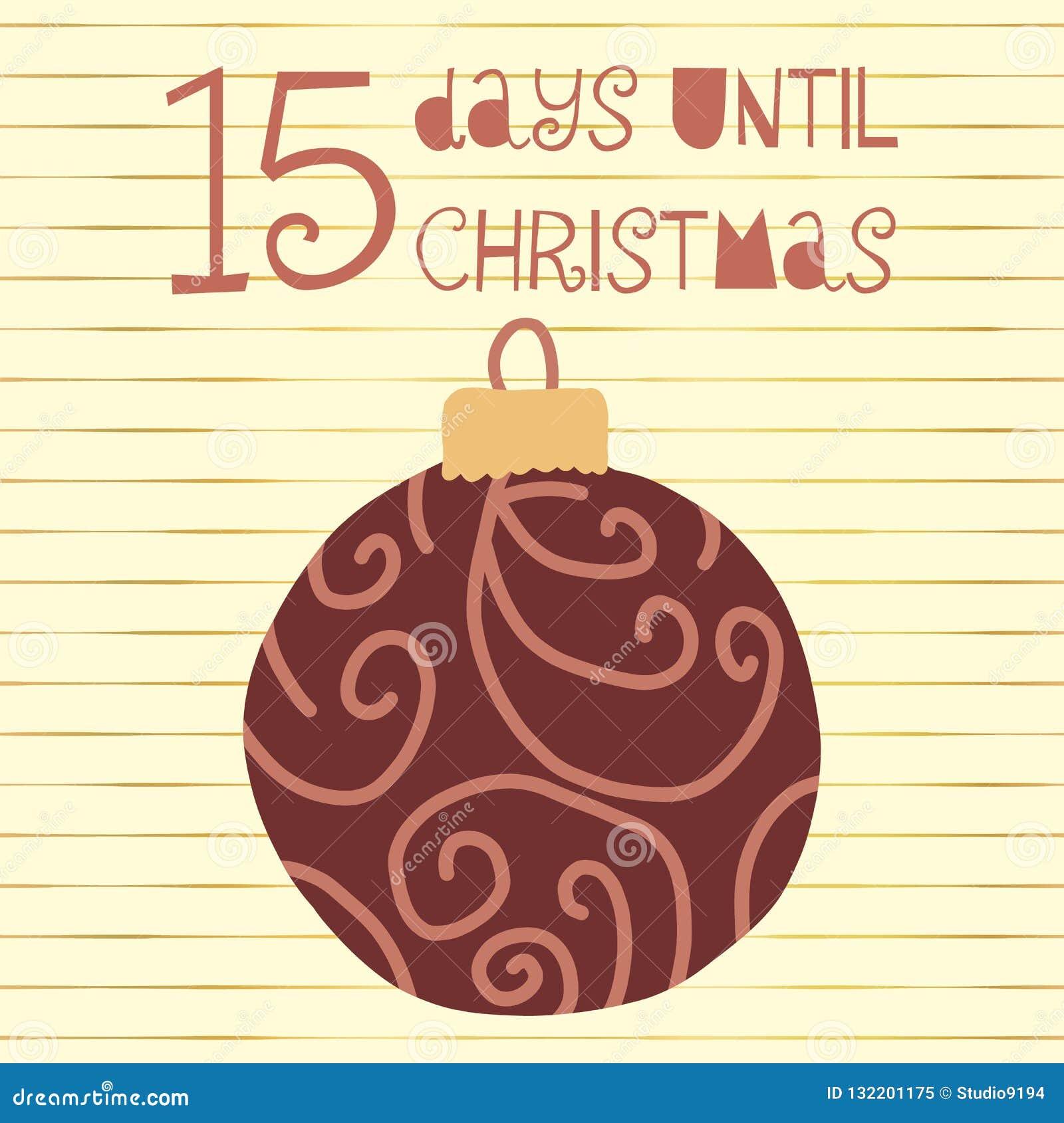 15 Dagen tot Kerstmis vectorillustratie +EPS Bord van Kerstmis van Til tel van de Dagen het