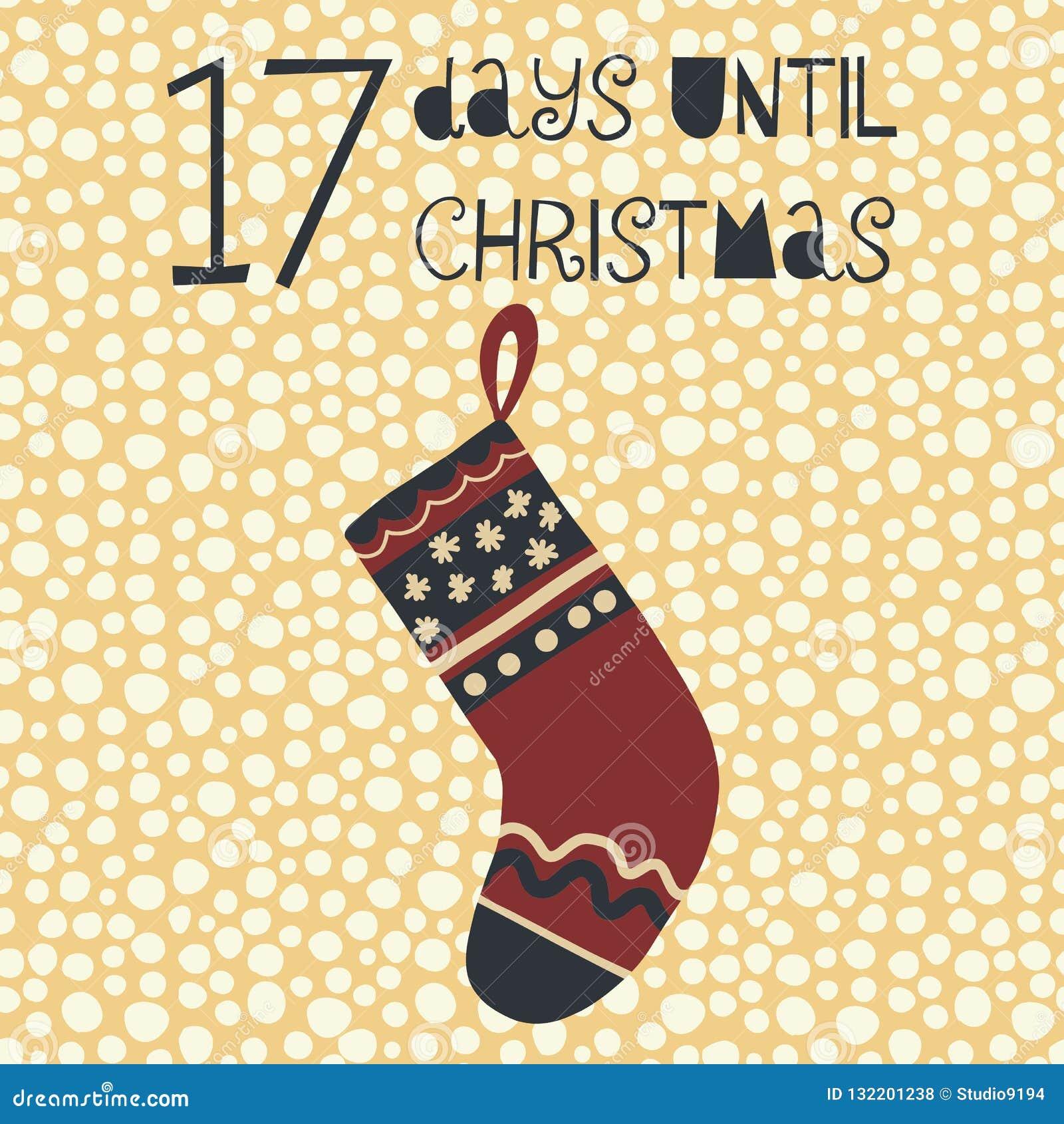 17 Dagen tot Kerstmis vectorillustratie +EPS Bord van Kerstmis van Til tel van de Dagen het