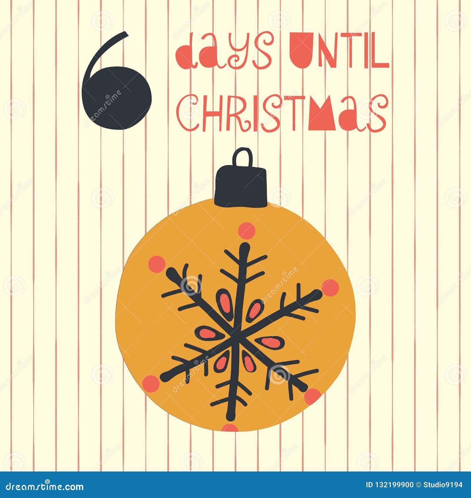 6 dagen tot Kerstmis vectorillustratie Kerstmisaftelprocedure zes dagen til Kerstman Uitstekende stijl Hand getrokken ornament va