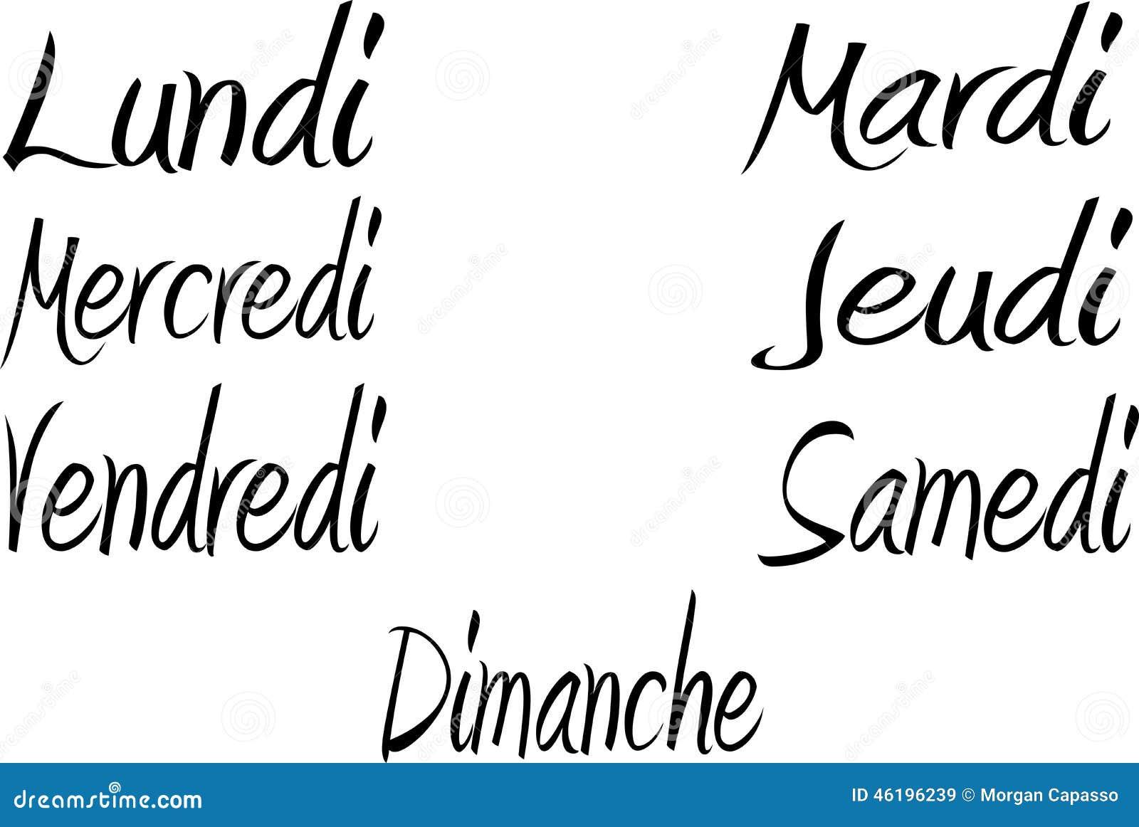 Dagen van de week in het Frans