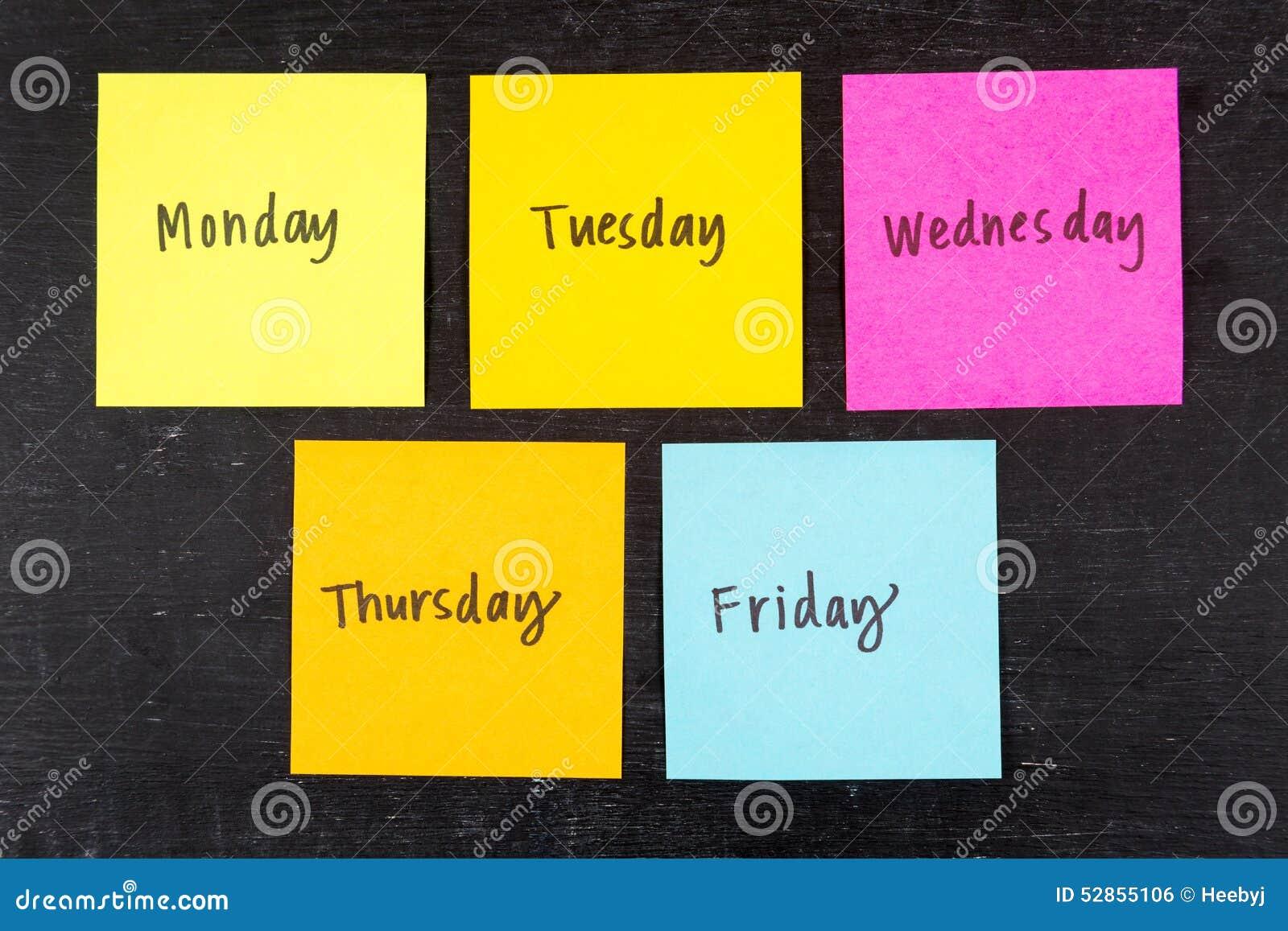 Dagen van Week Kleverige Nota s