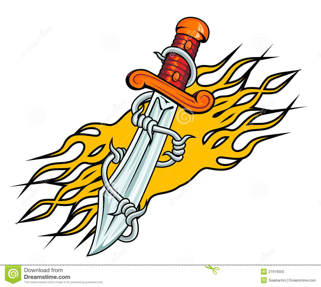 Old school tattoo dagger through heart stock photos image - Dagger With Barbed Wire And Flames Royalty Free Stock