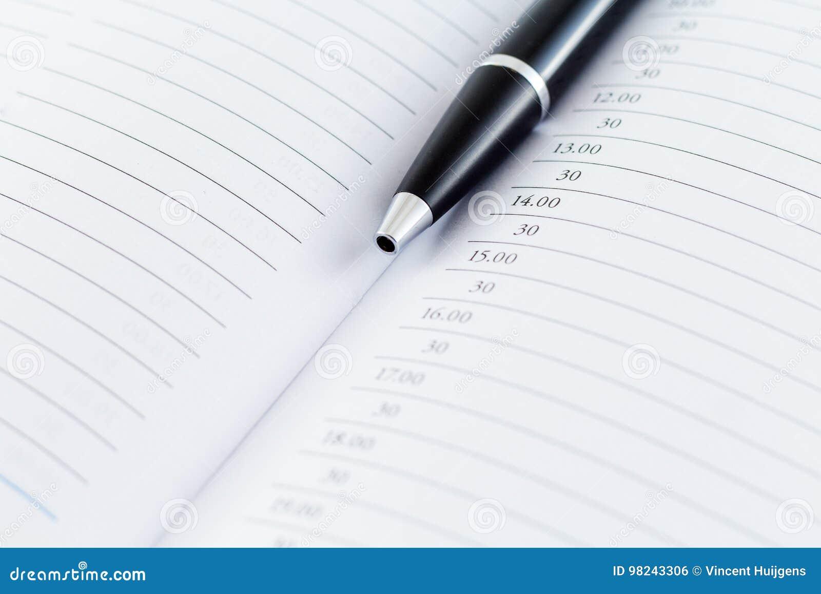 Dagordningplanläggningsdagbok med pennan