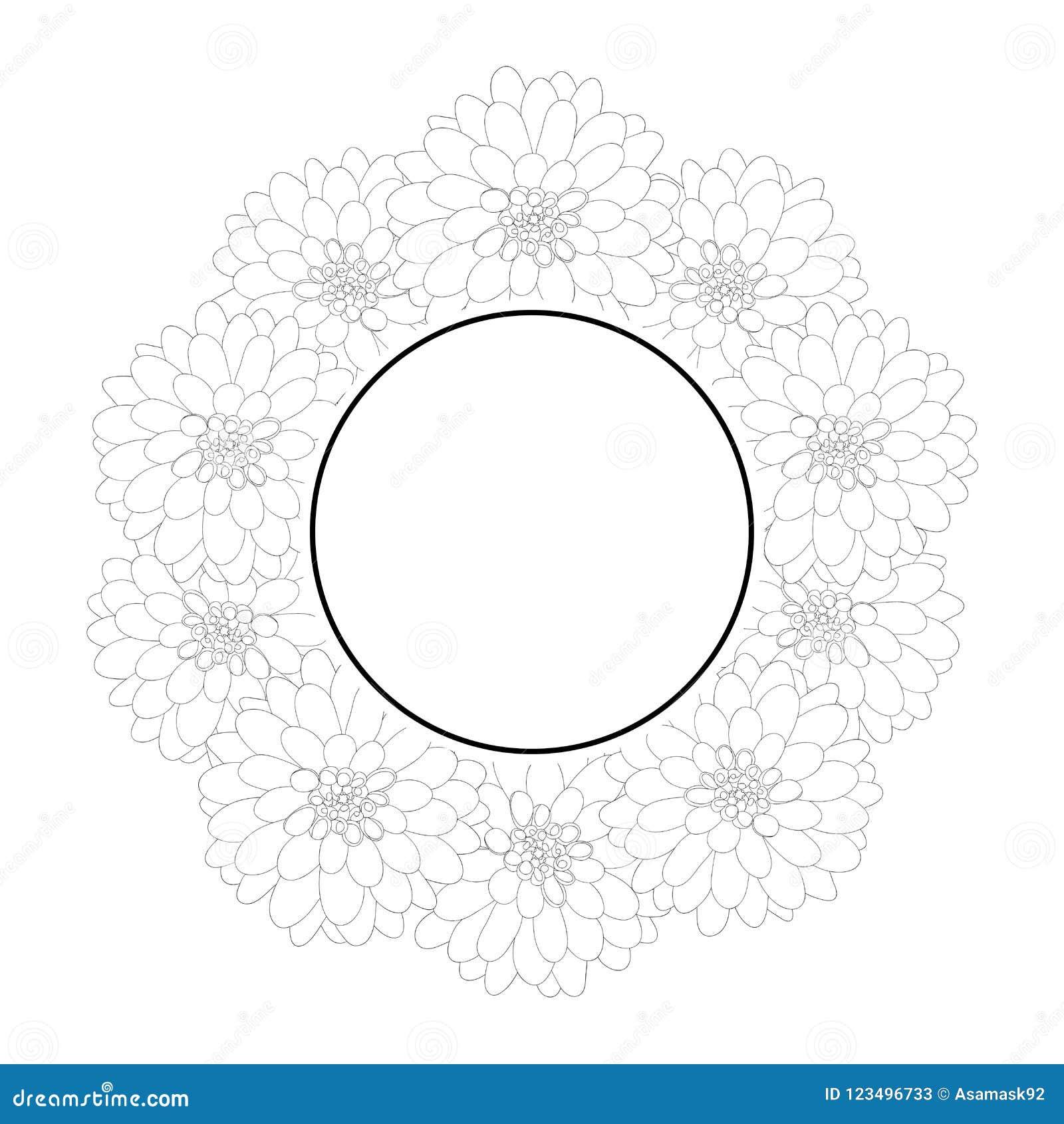 Dahlia Banner Wreath Outline Mexicos National Flower Vector