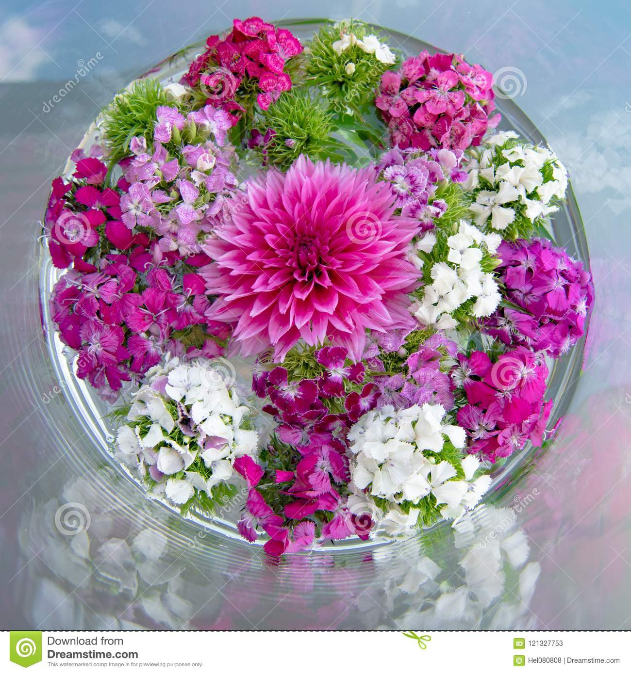 Dahlia And Daisy Flowers On Table Flowering Table Deceoration