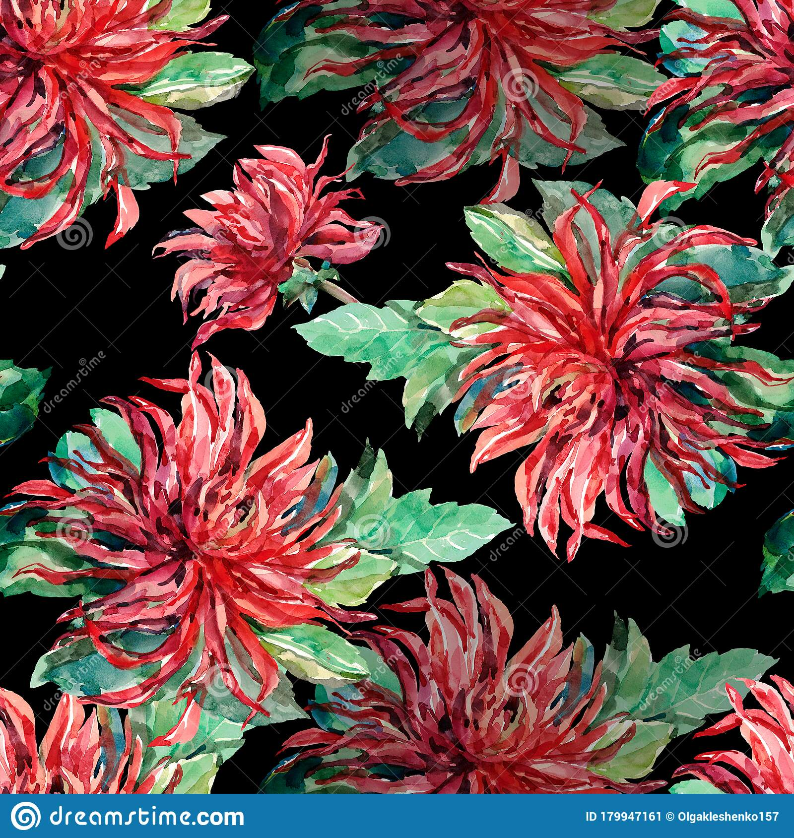 Dahlia Flowers Painting In Watercolor Seamless Pattern For Decor Stock Illustration Illustration Of Meadow Creative 179947161