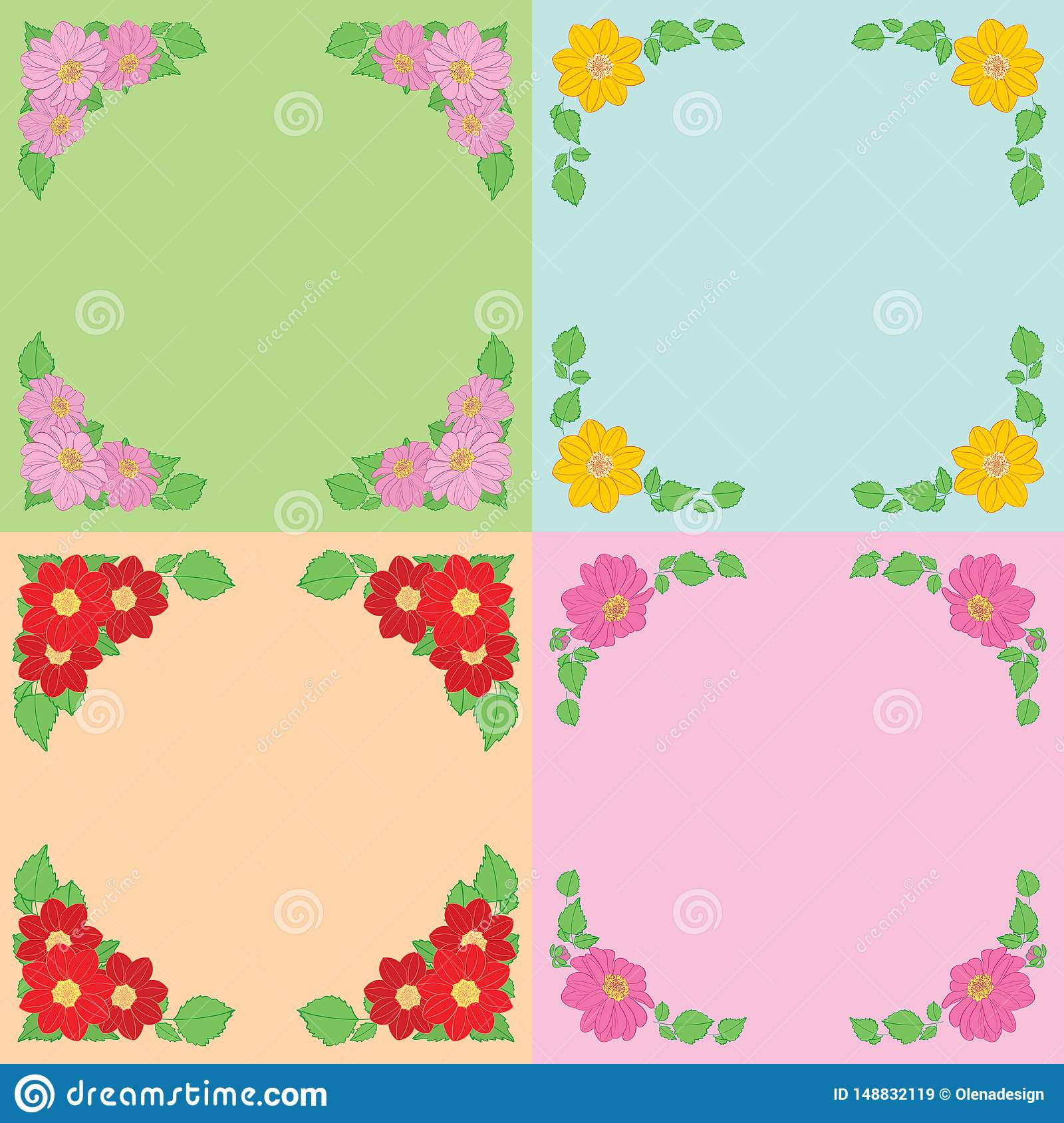 Dahlias flowers with green leaves as frames on color backgrounds - vector set