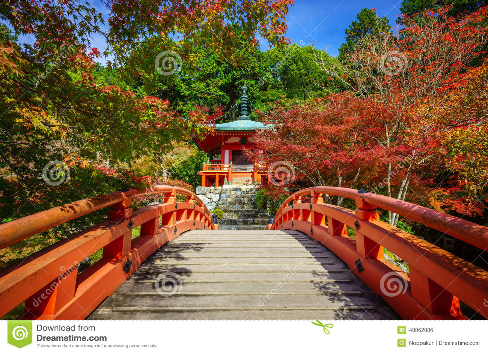 Daigoji寺庙在秋天,京都,日本