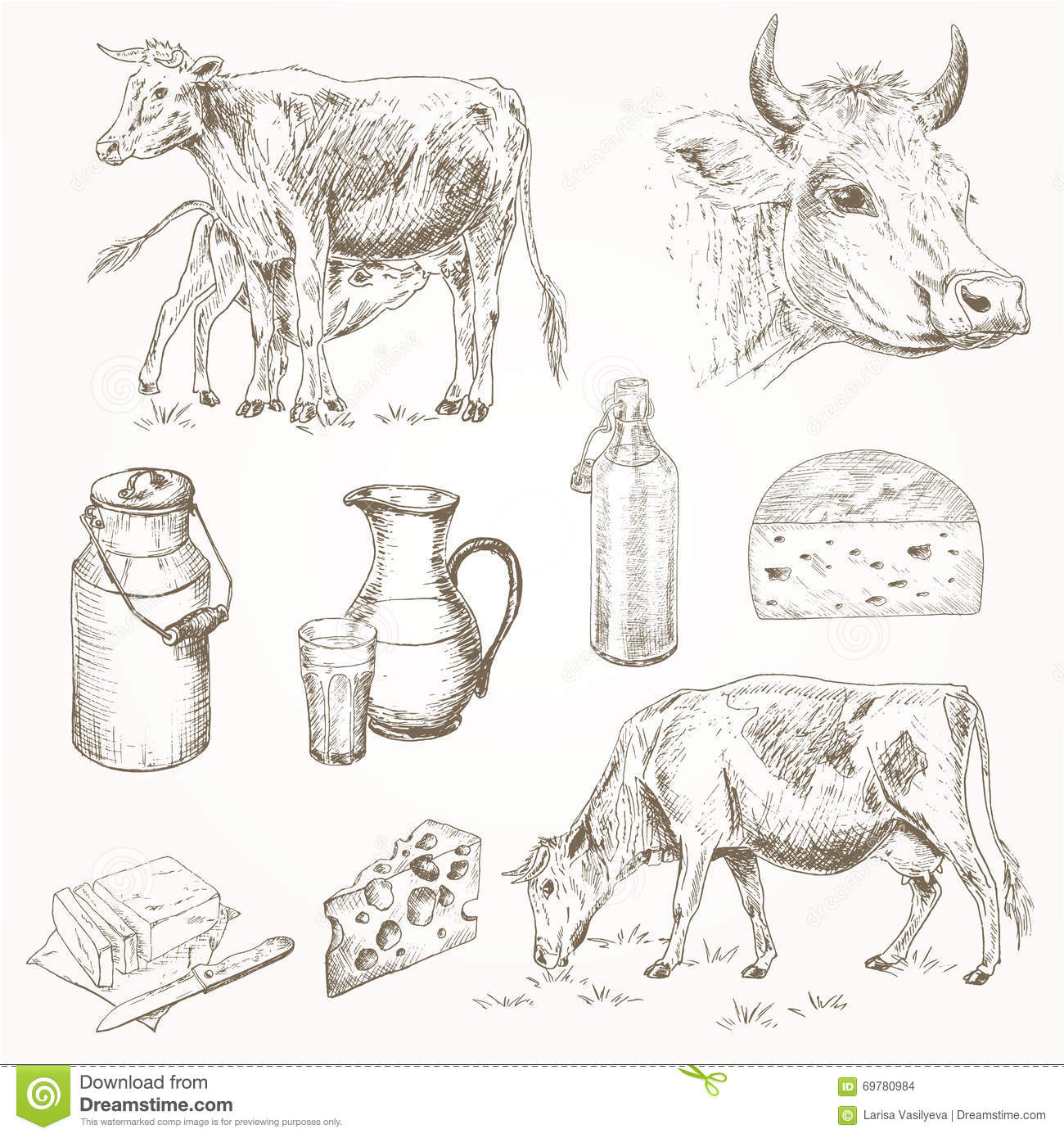 Dairy cattle farm stock vector. Image of farming, butter ...