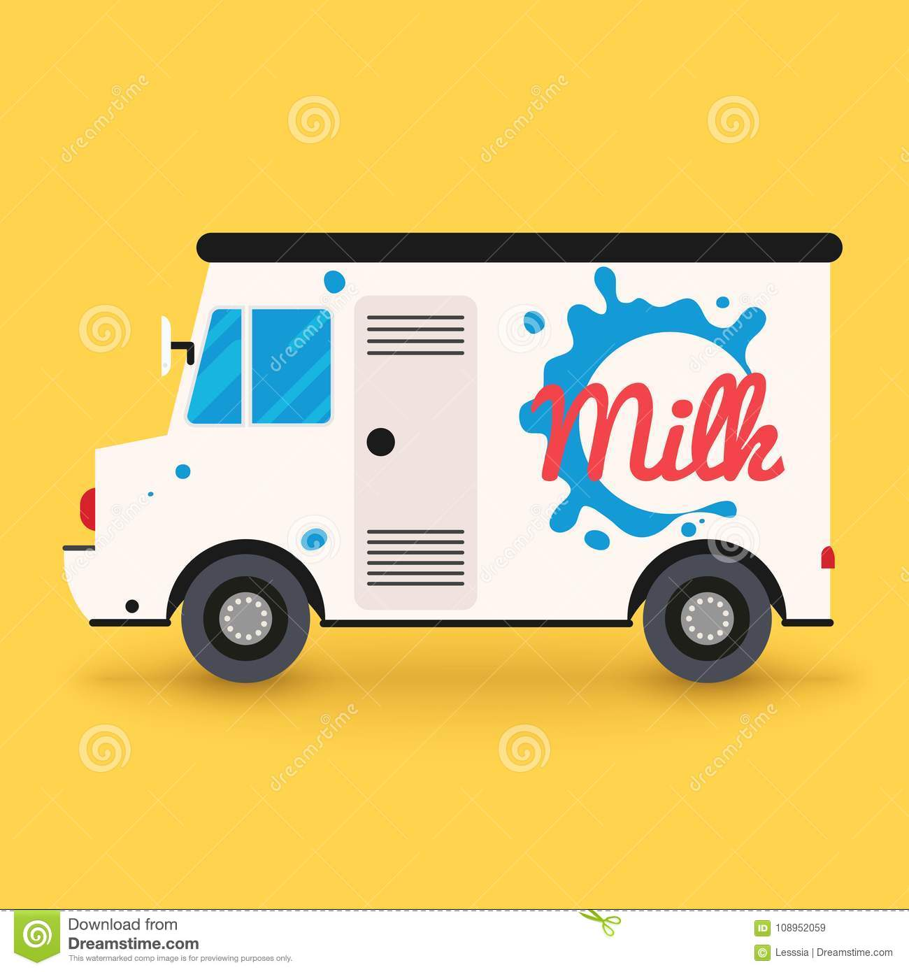 Dairy milk delivery service. Local delivery van.Flat design mode