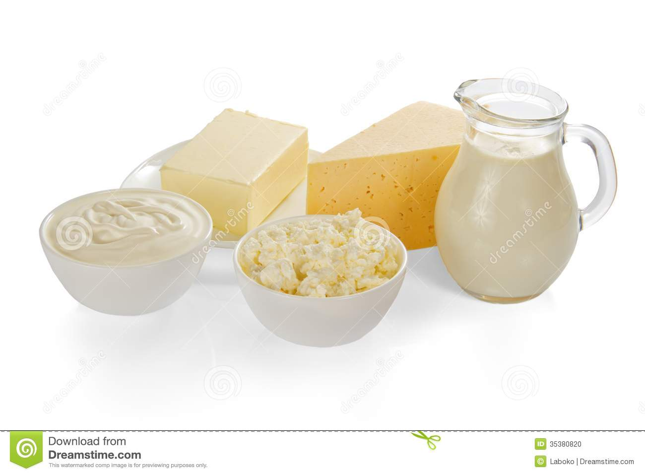 Sour cream, cottage cheese, milk, cheese and the butter, isolated on ...