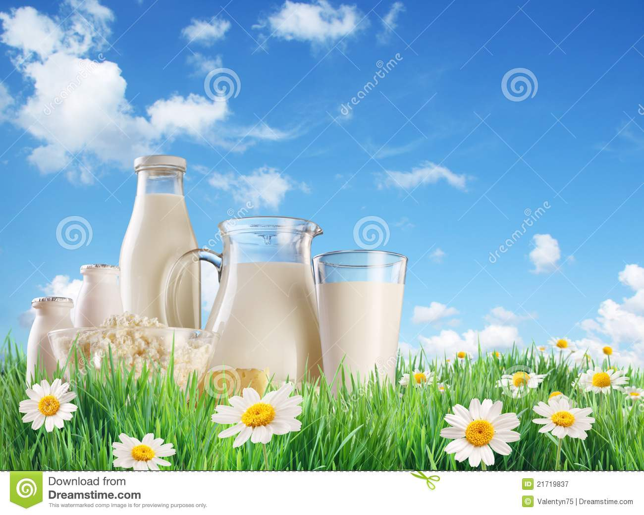 Dairy products on the grass.