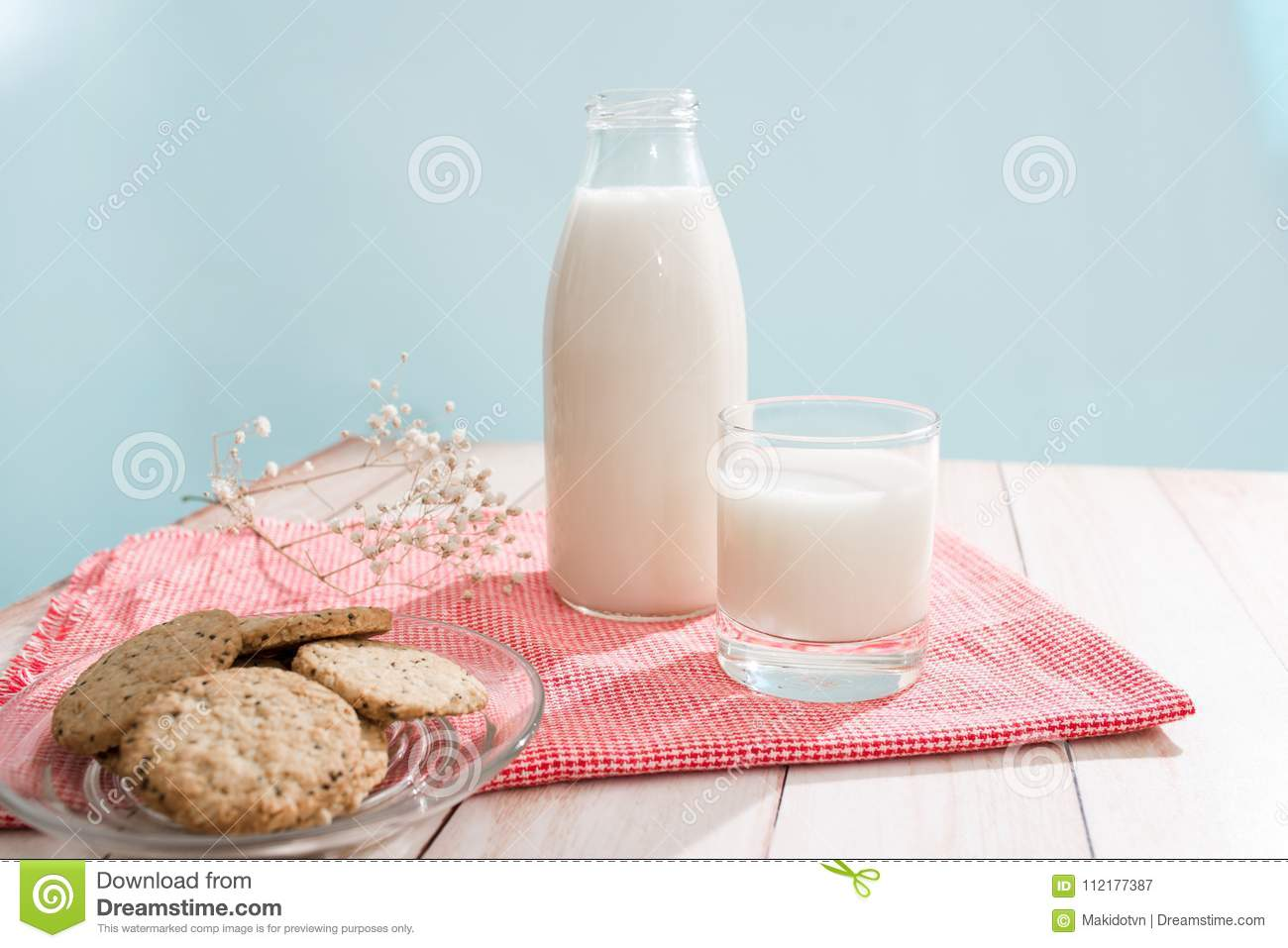 Dairy products. Pastry organic breakfast with milk and cookies.