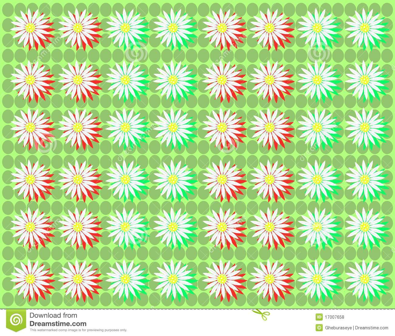 Colorful background with daisies in green