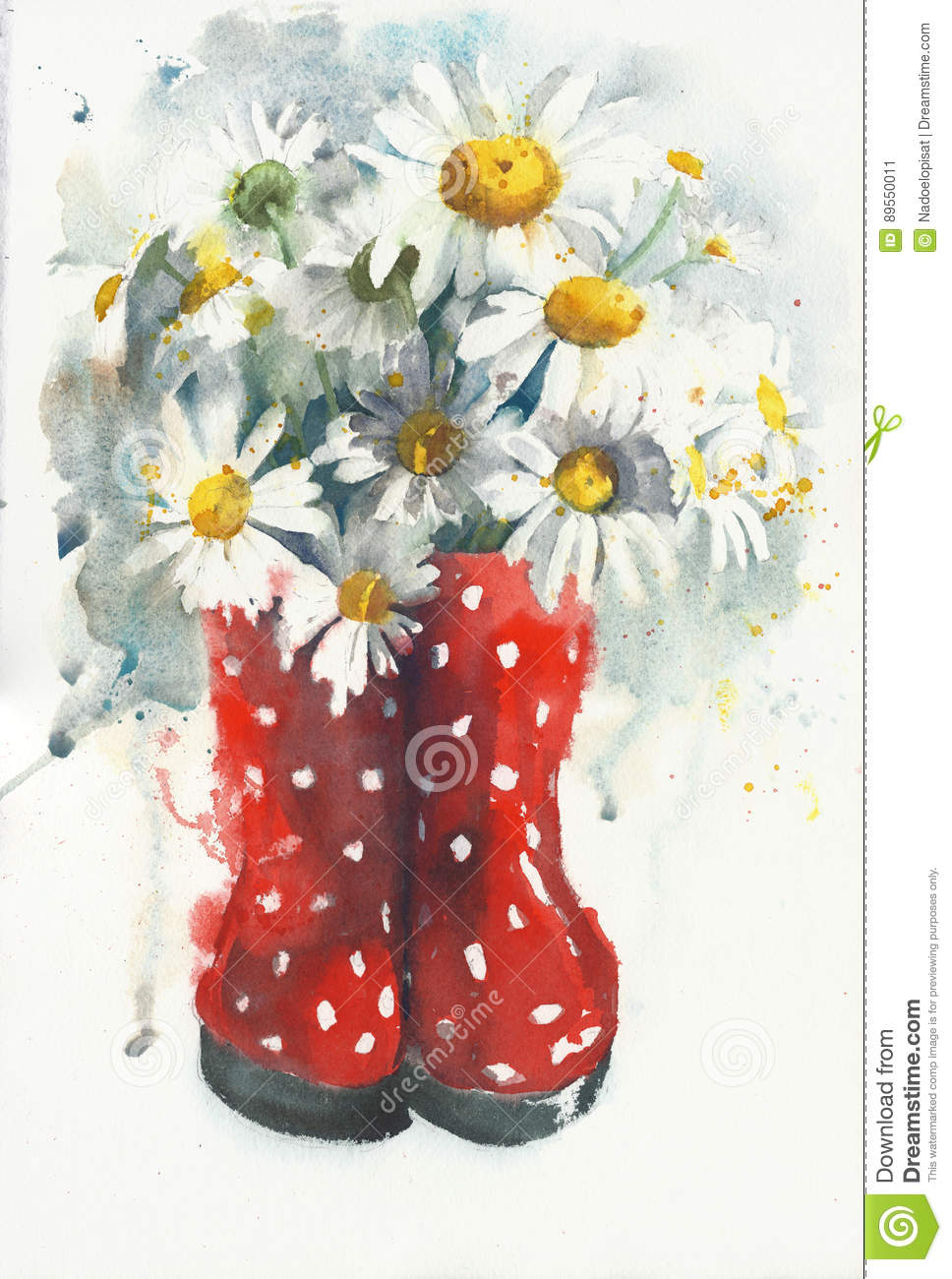 Daisies Bouquet Watercolor Painting Greeting Card Stock Illustration