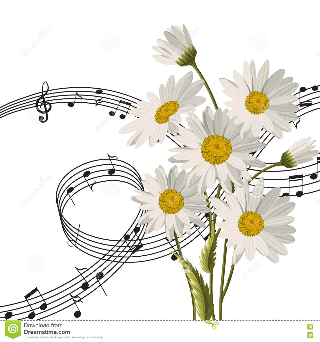 Daisies With Music Notes. Stock Vector. Illustration Of