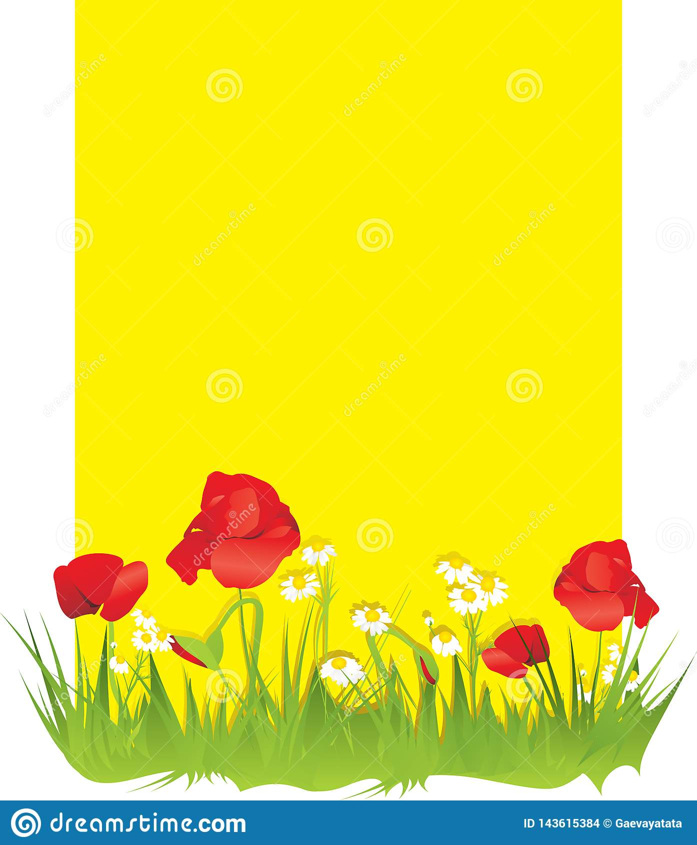 Daisies and poppies on a yellow background