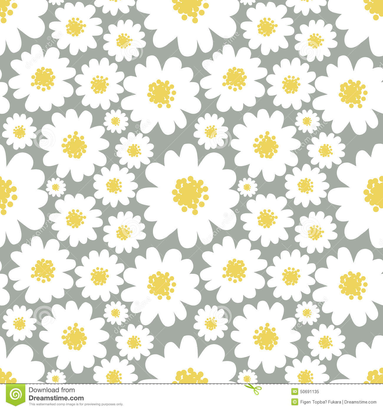 daisies seamless pattern stock vector image 50691135
