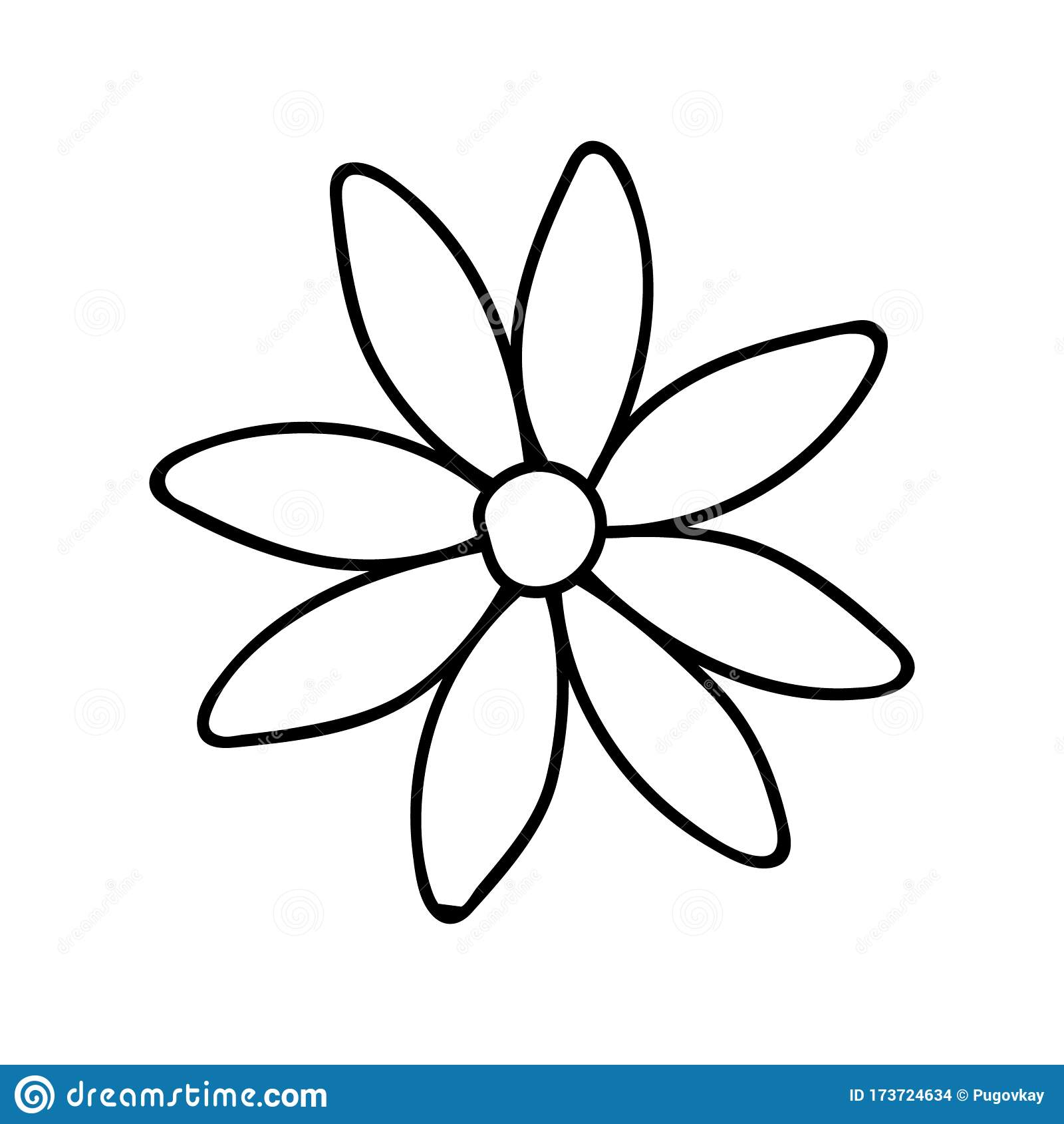 Daisy Camomile Doodle Illustration Black And White Image Contour Drawing Flower Image Isolated Flower On A White Background Stock Vector Illustration Of Decorative Black 173724634