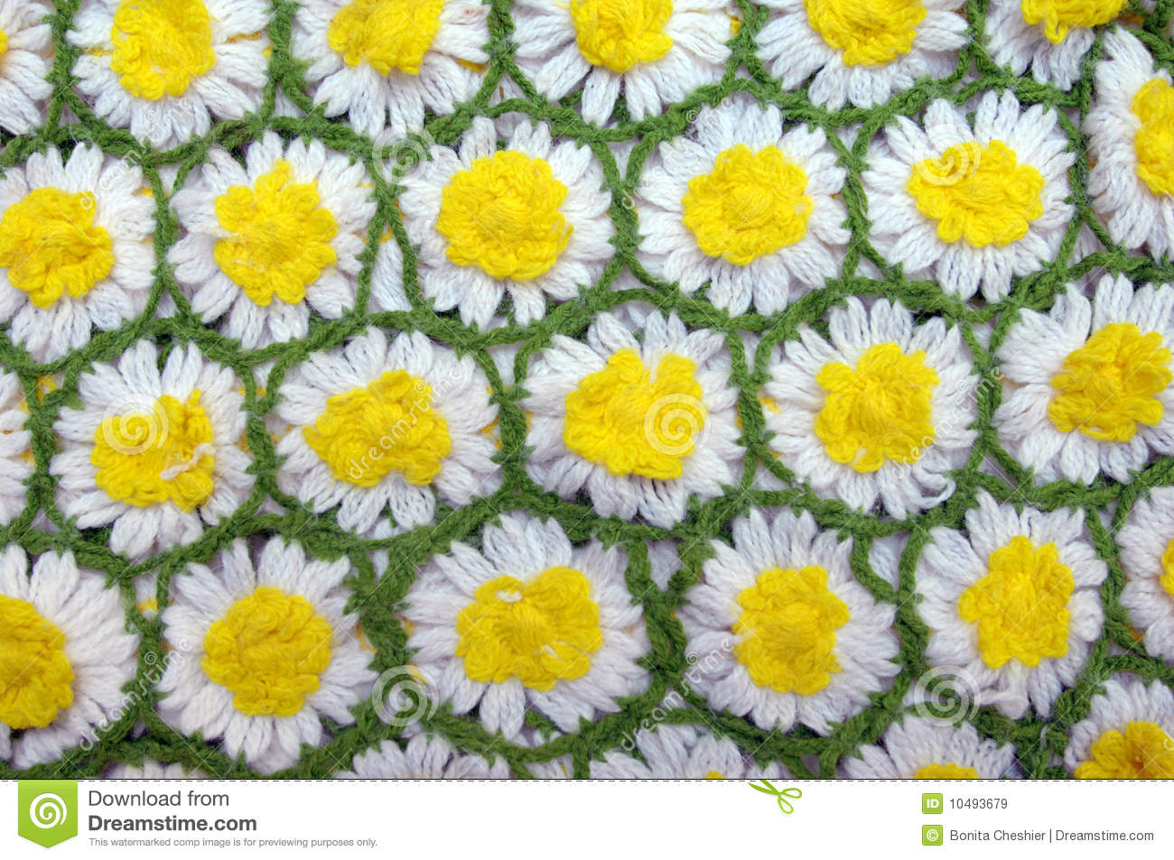 Daisy chains stock image image of white background 10493679 hand knitted daisy aghan has flowers linked by bright green yarn background image izmirmasajfo