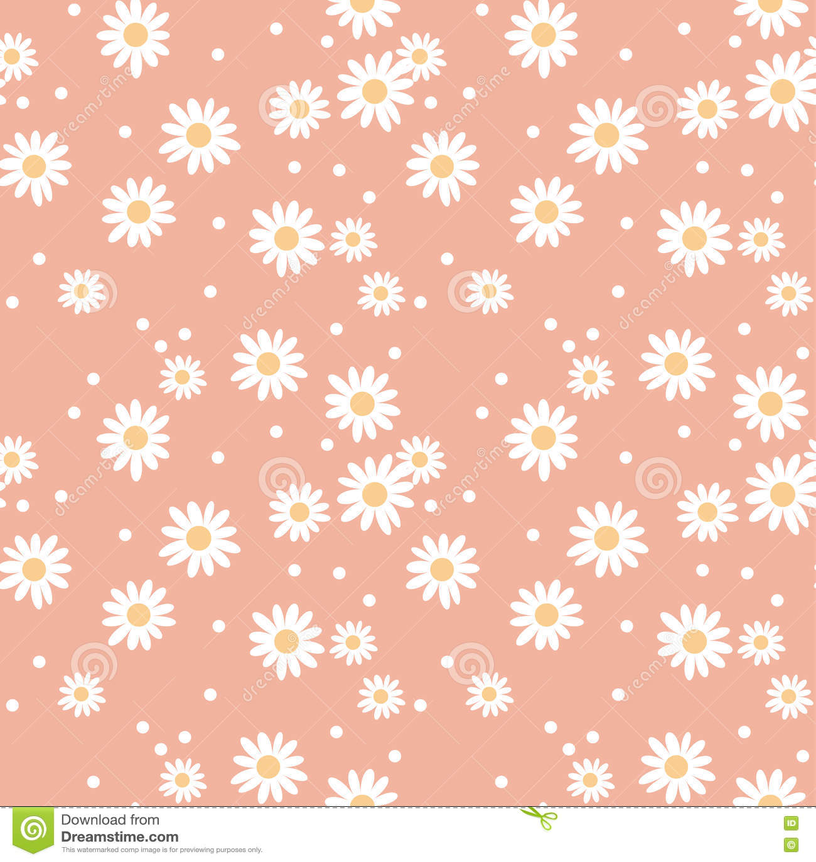Daisy Cute Seamless Pattern. Stock Vector