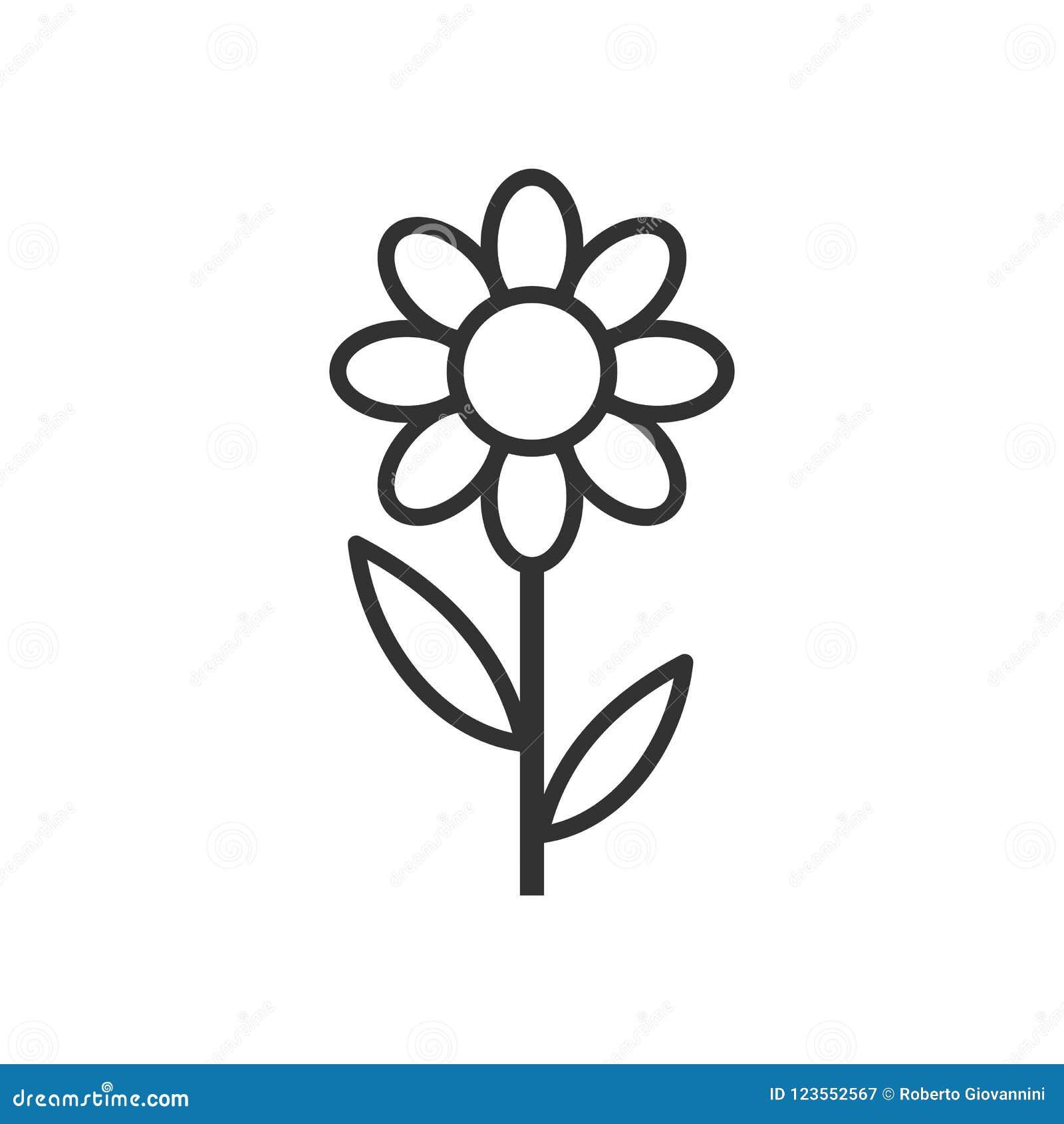 Daisy Flower Outline Flat Icon en blanco