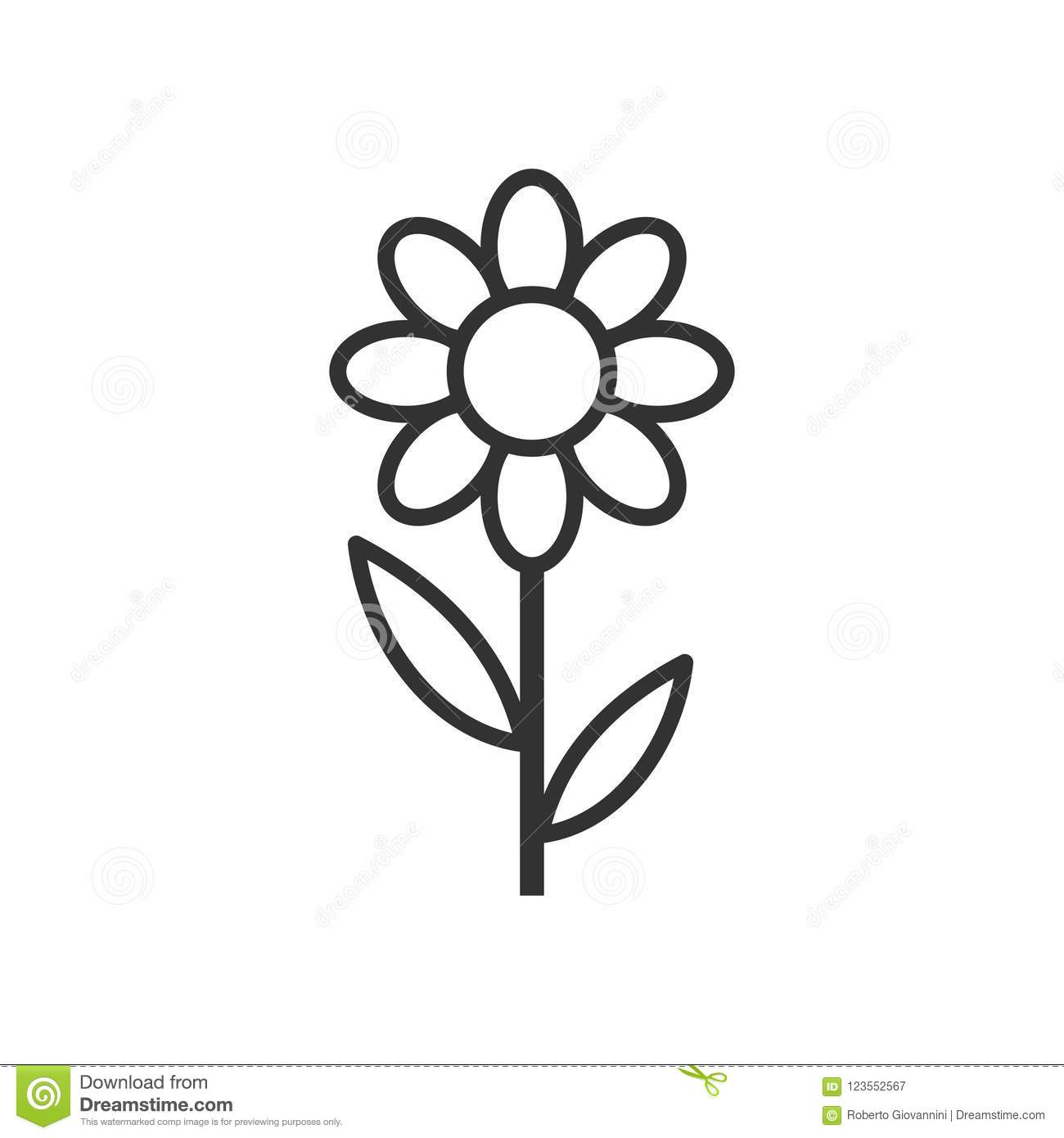Daisy Flower Outline Flat Icon on White