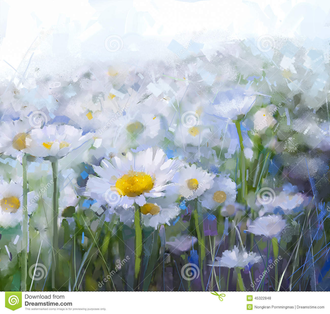 Oil painting white daisy flower in filed stock illustration oil painting white daisy flower in filed mightylinksfo