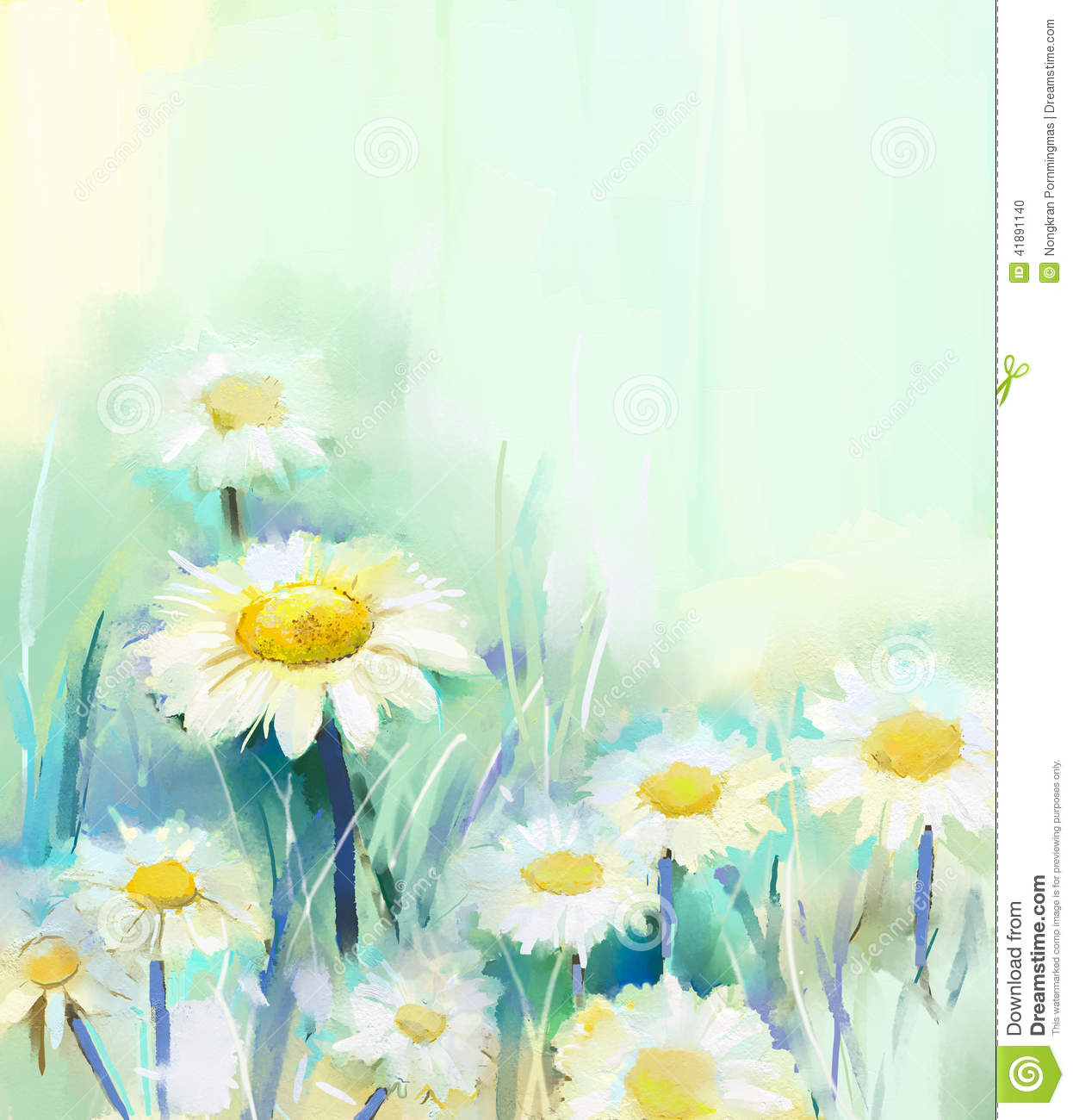 Abstract oil painting white flowers field in soft color stock oil painting white daisy flowers in field stock photo mightylinksfo Gallery