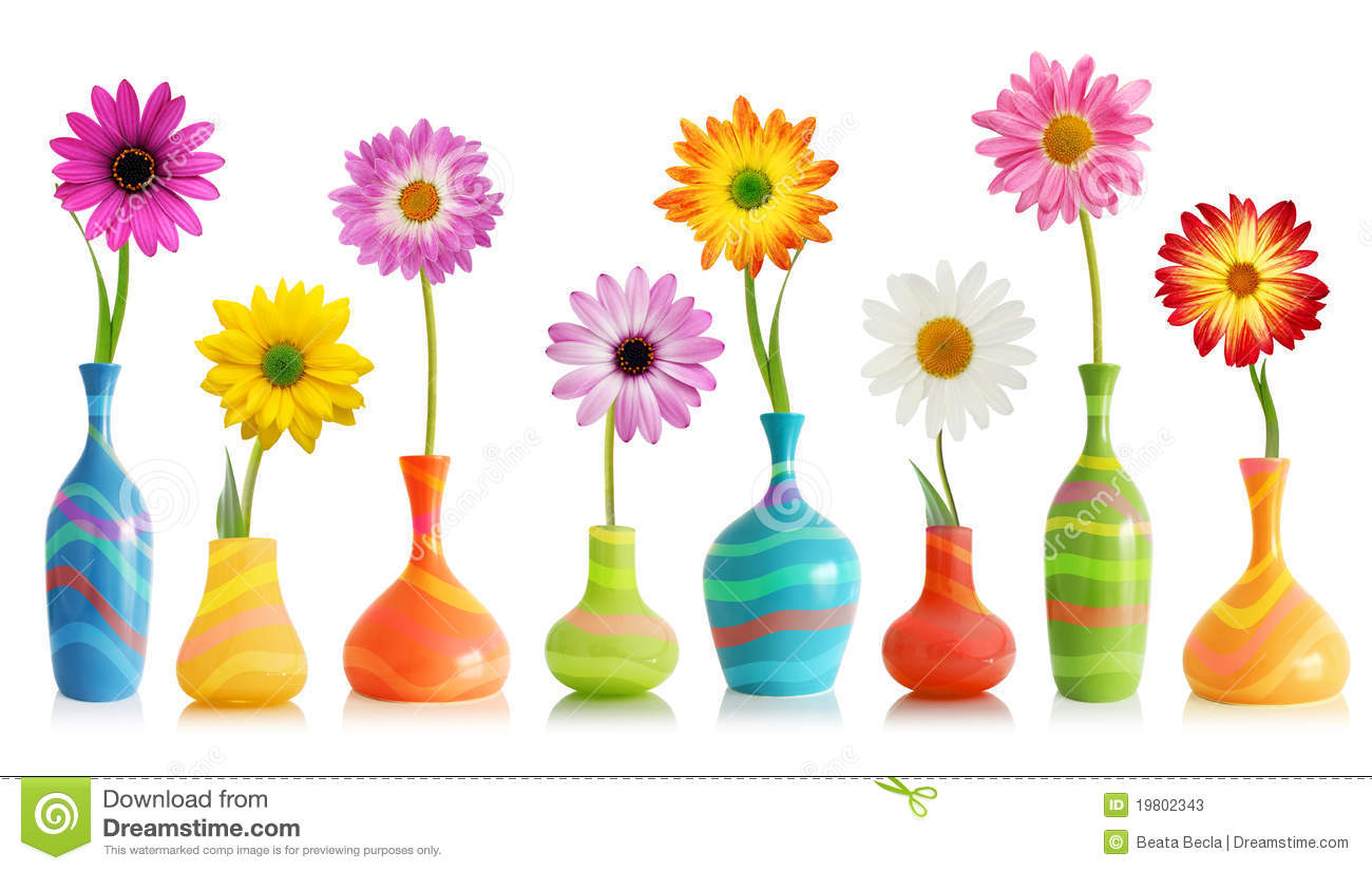 Spring flowers in vases stock photo image of gerber 12522956 daisy flowers in vases stock photos reviewsmspy