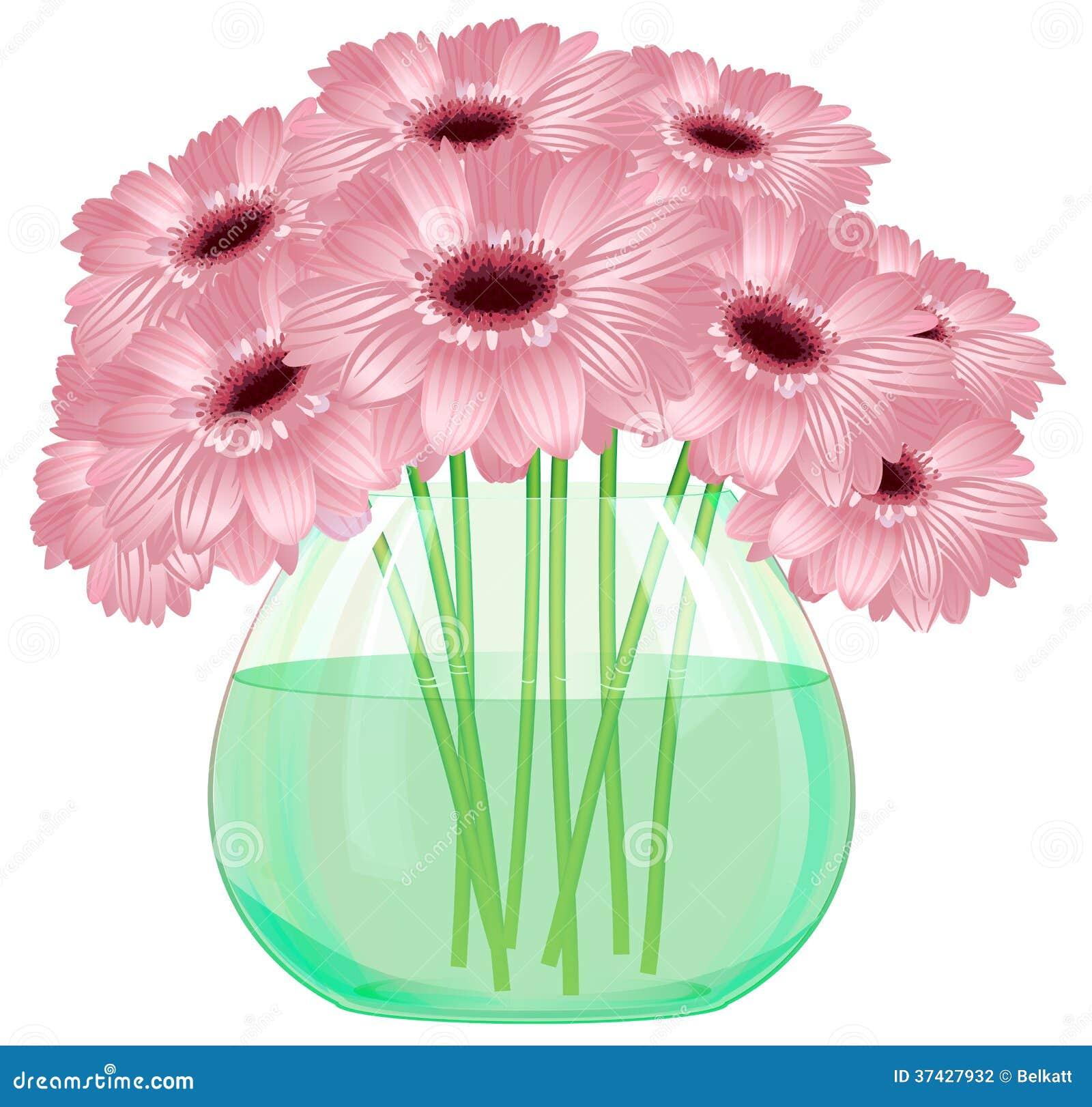 Daisy Gerbera Flower Bouquet In Glass Vase Stock Vector