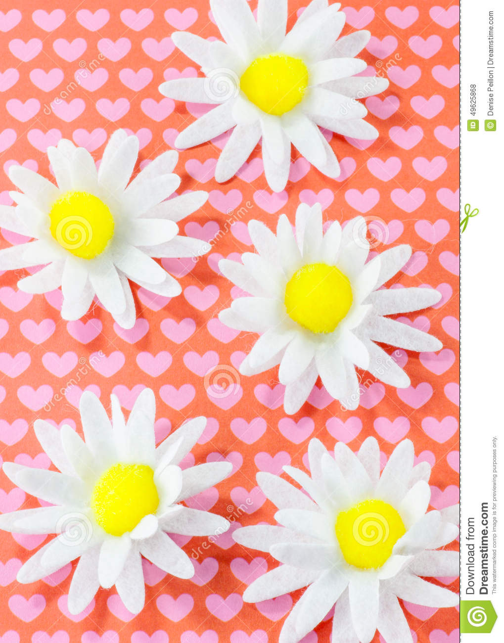 Daisys And Hearts Stock Photo Image Of Paper Close 49625868