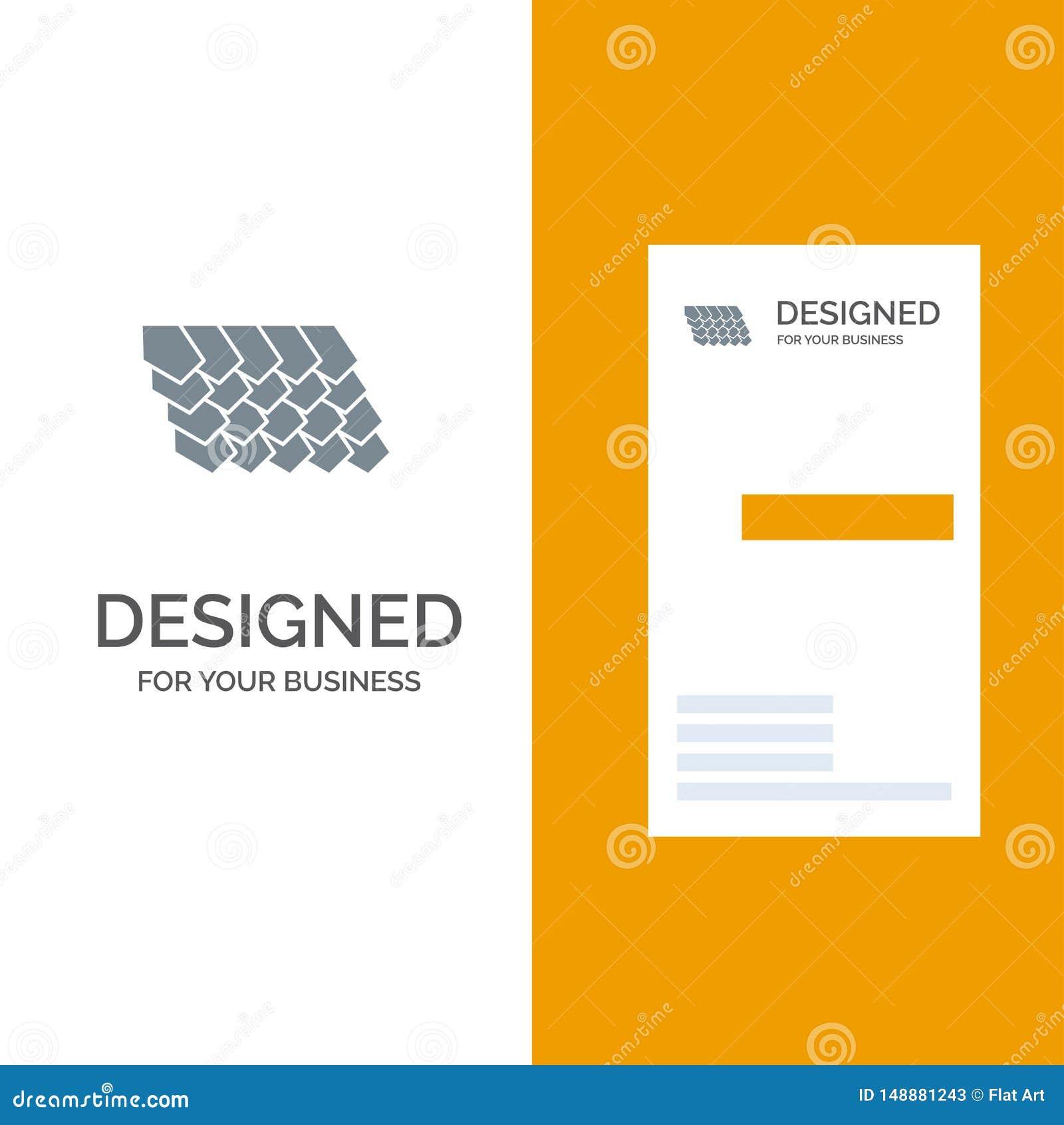 Dak, Tegel, Bovenkant, Bouw Grey Logo Design en Visitekaartjemalplaatje