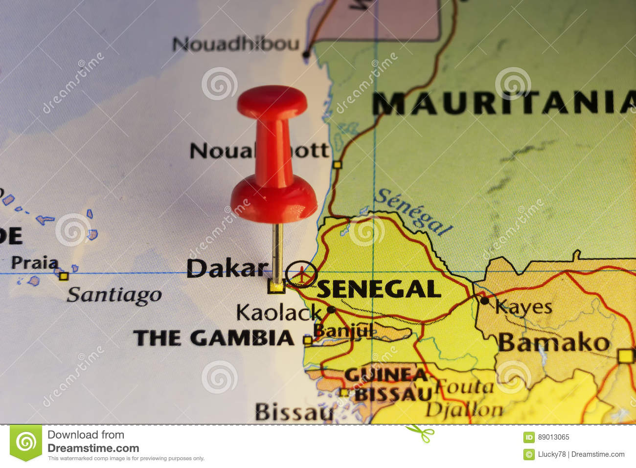 Dakar Pinned Map, Capital Of Senegal Stock Illustration ... on
