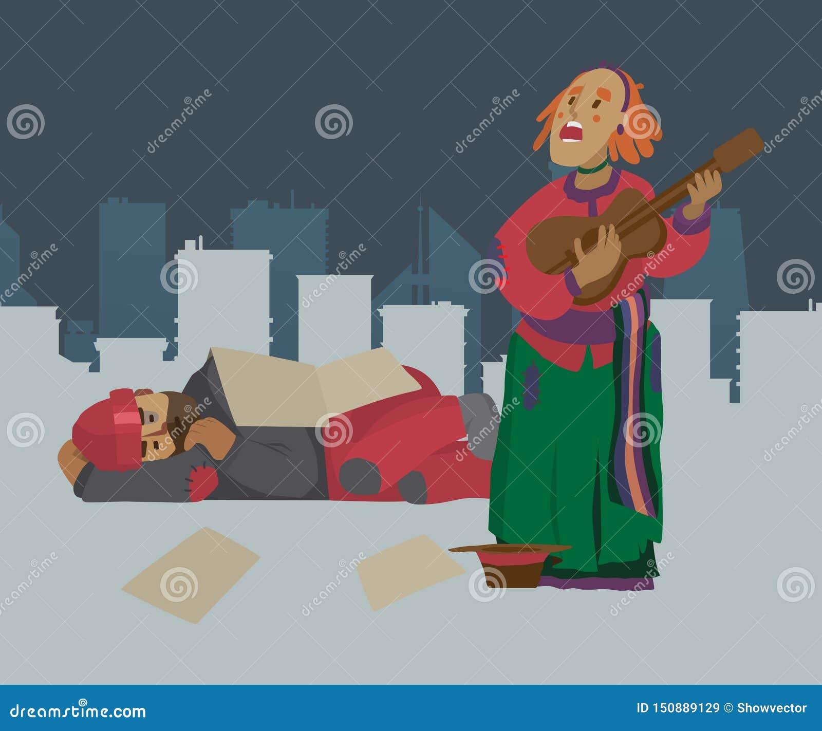 Dakloze de vrouwenbedelaar van de straatmusicus op stadsstraat, die om geld en het spelen gitaar vragen Panhandler, pauper, penur