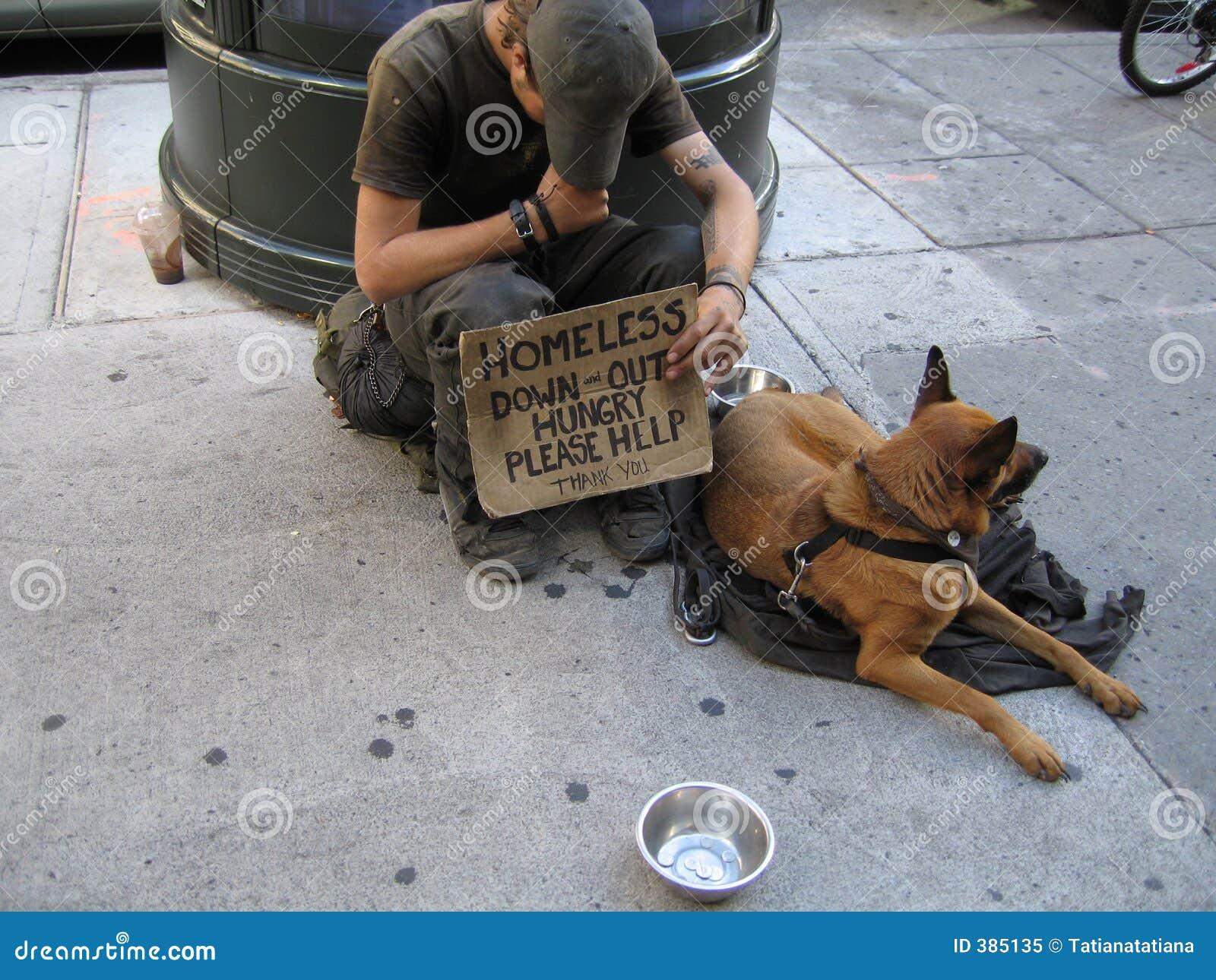 Dakloze Mens met Hond