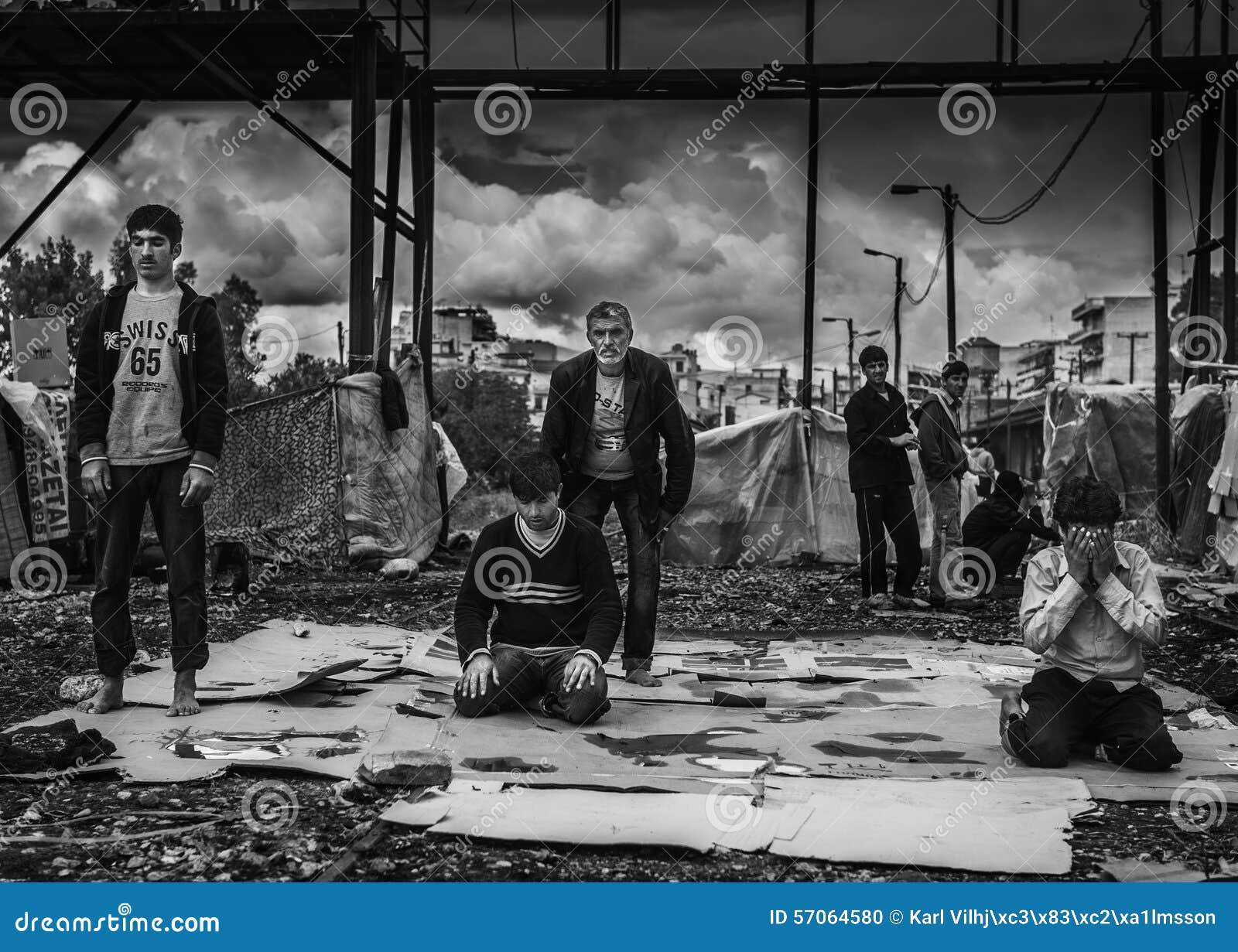 Dakloze vluchteling in Griekenland