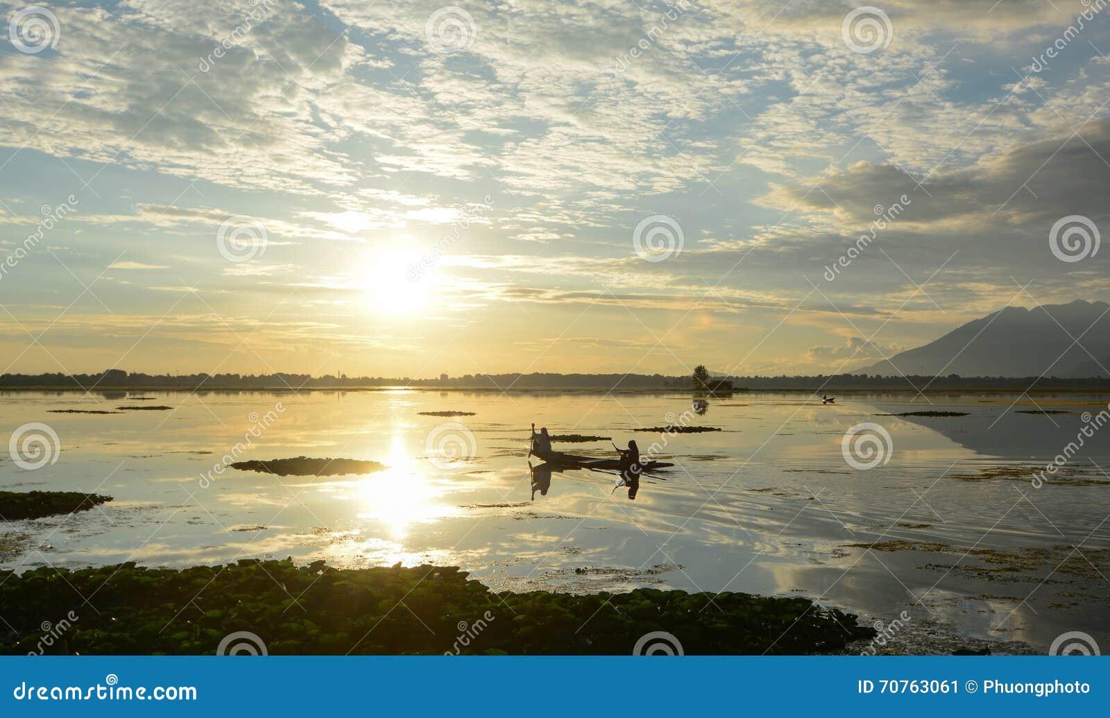 Dal湖风景在斯利那加,印度