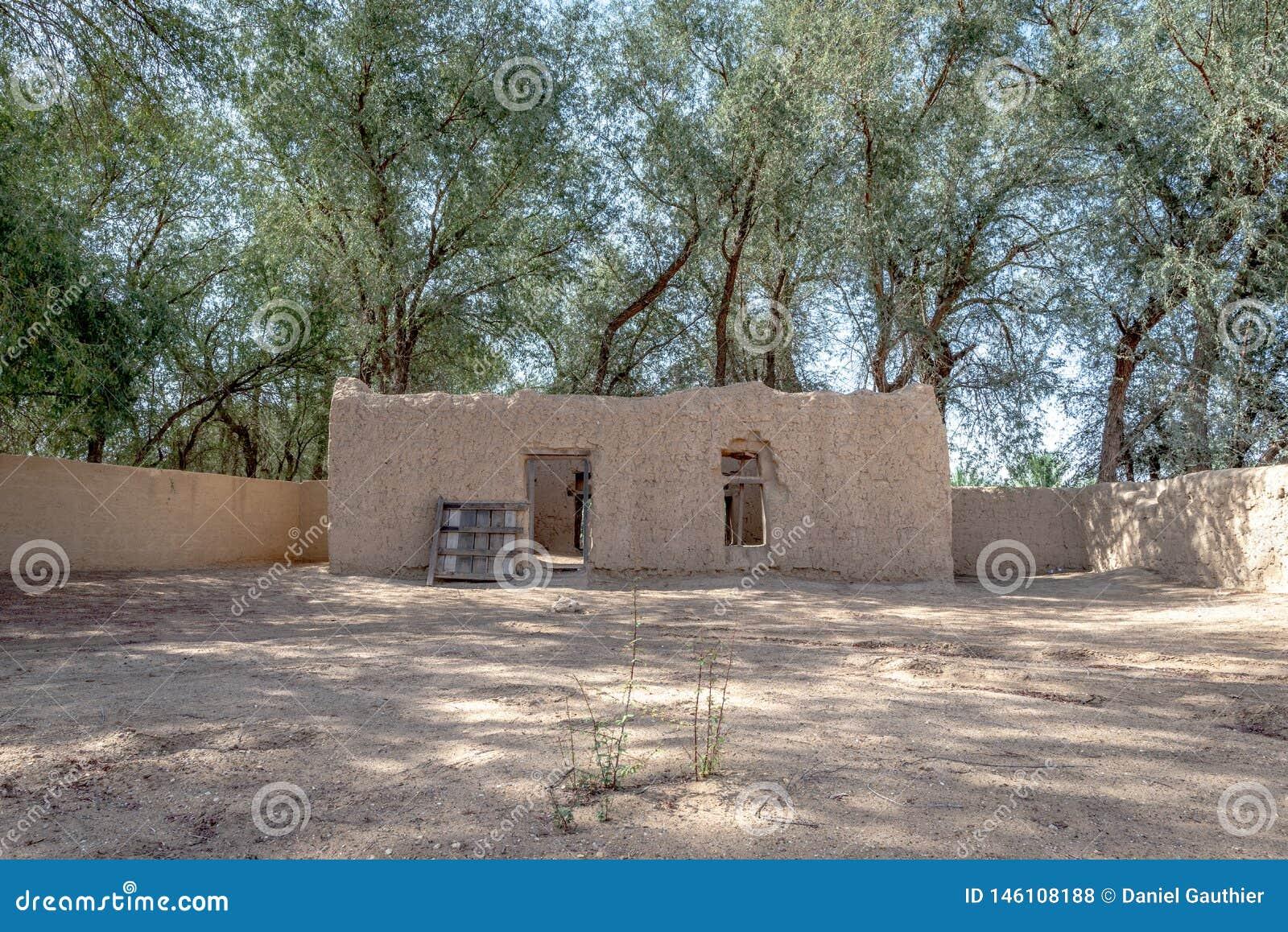 Daleki widok Al Dahiri dom w Al Qattara oazie, Al Ain