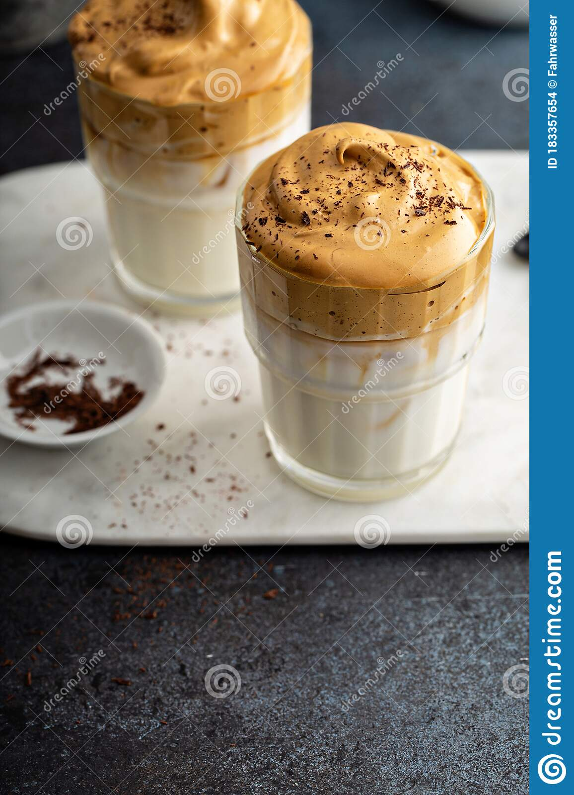 Dalgona Coffee Or Whipped Instant Coffee Stock Photo ...