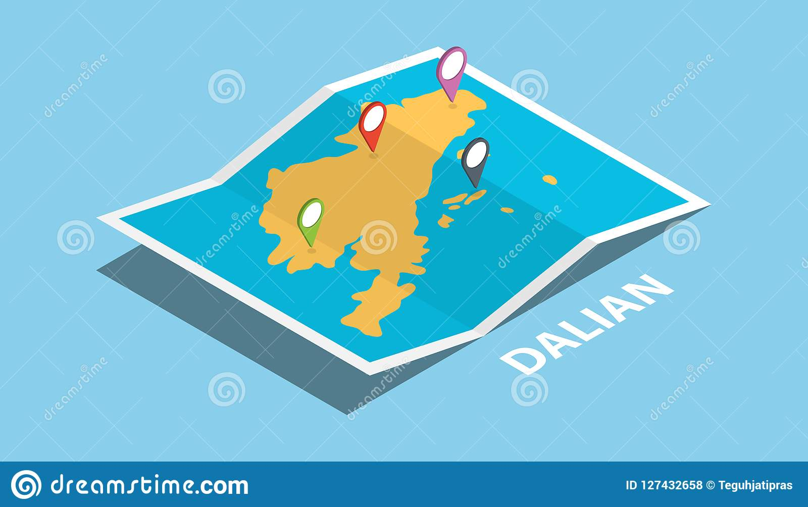 Dalian China Explore Maps Location With Folded Map And Pin Location on