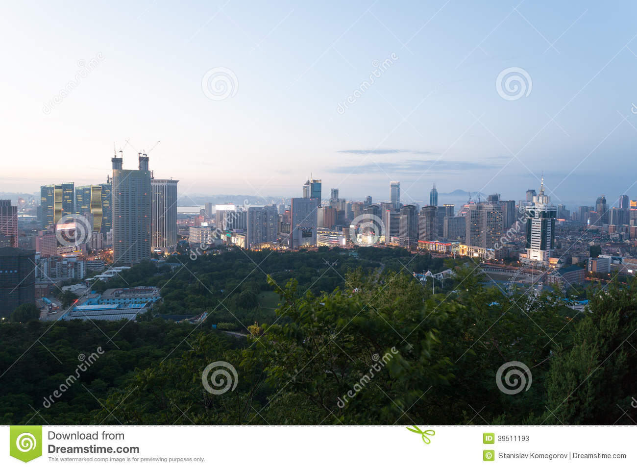 Dalian city in the evening