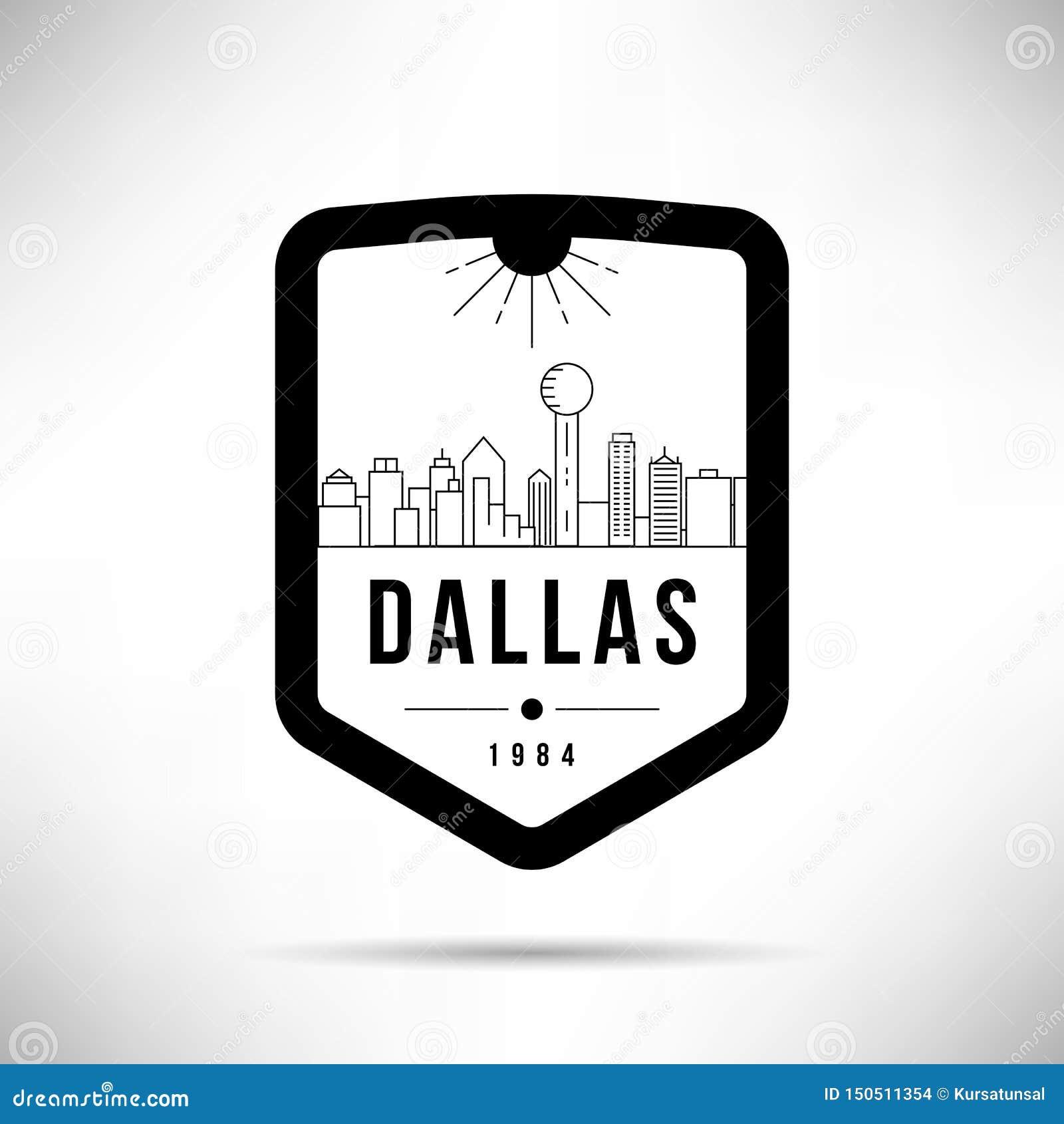 Dallas City Modern Skyline Vector-Malplaatje